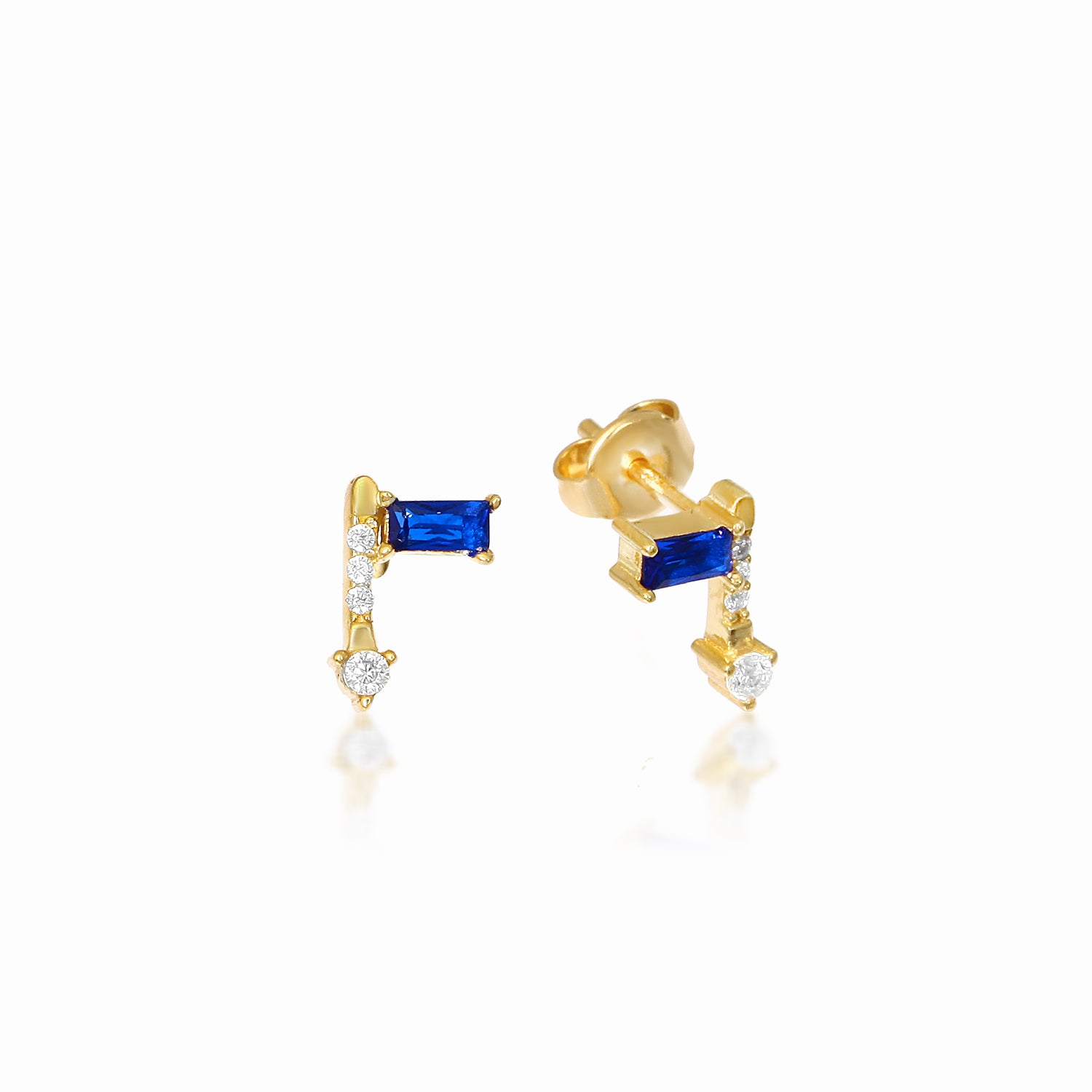 BAGUETTE ARROW SAPPHIRE EARRINGS