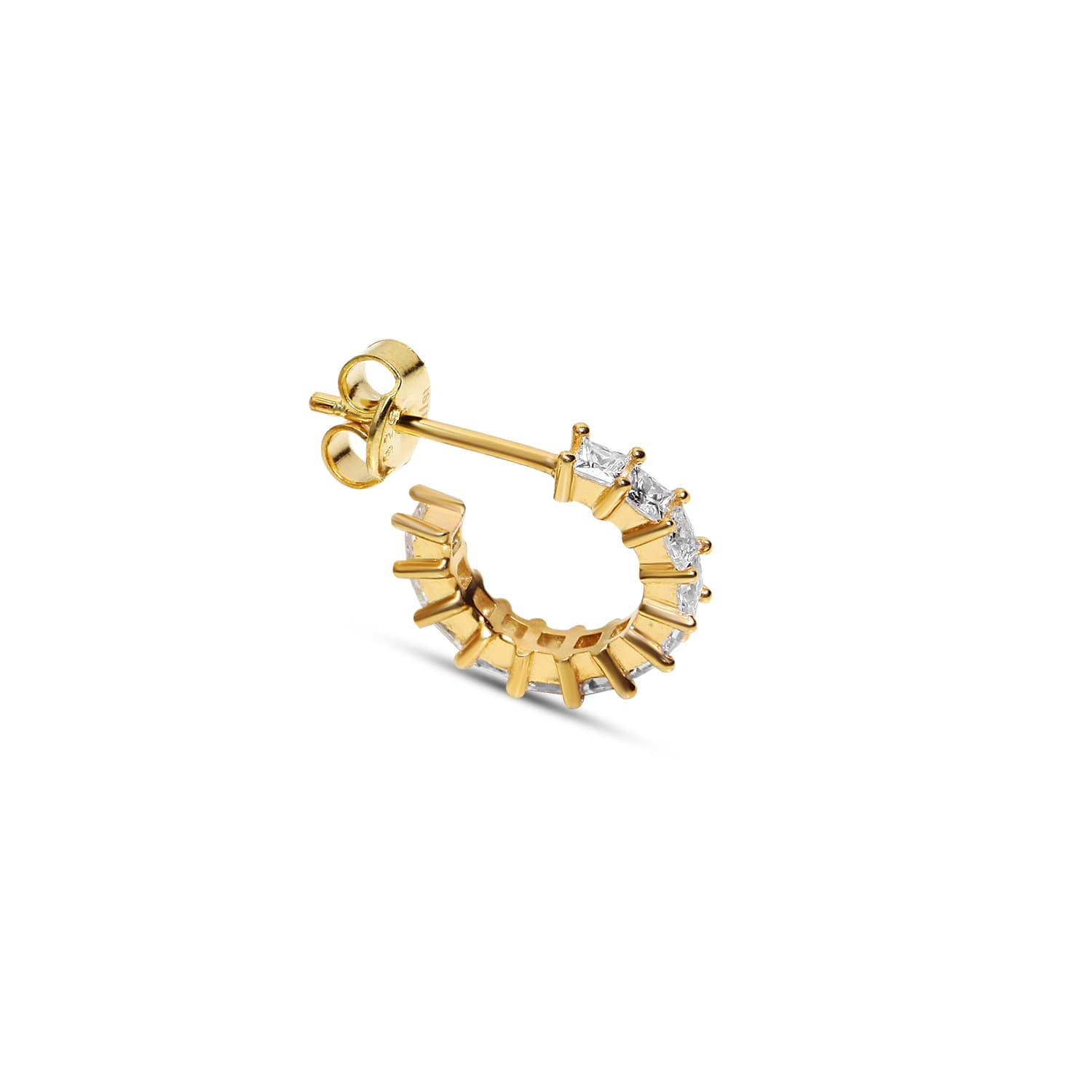 Gold plated minimal white stone earring models