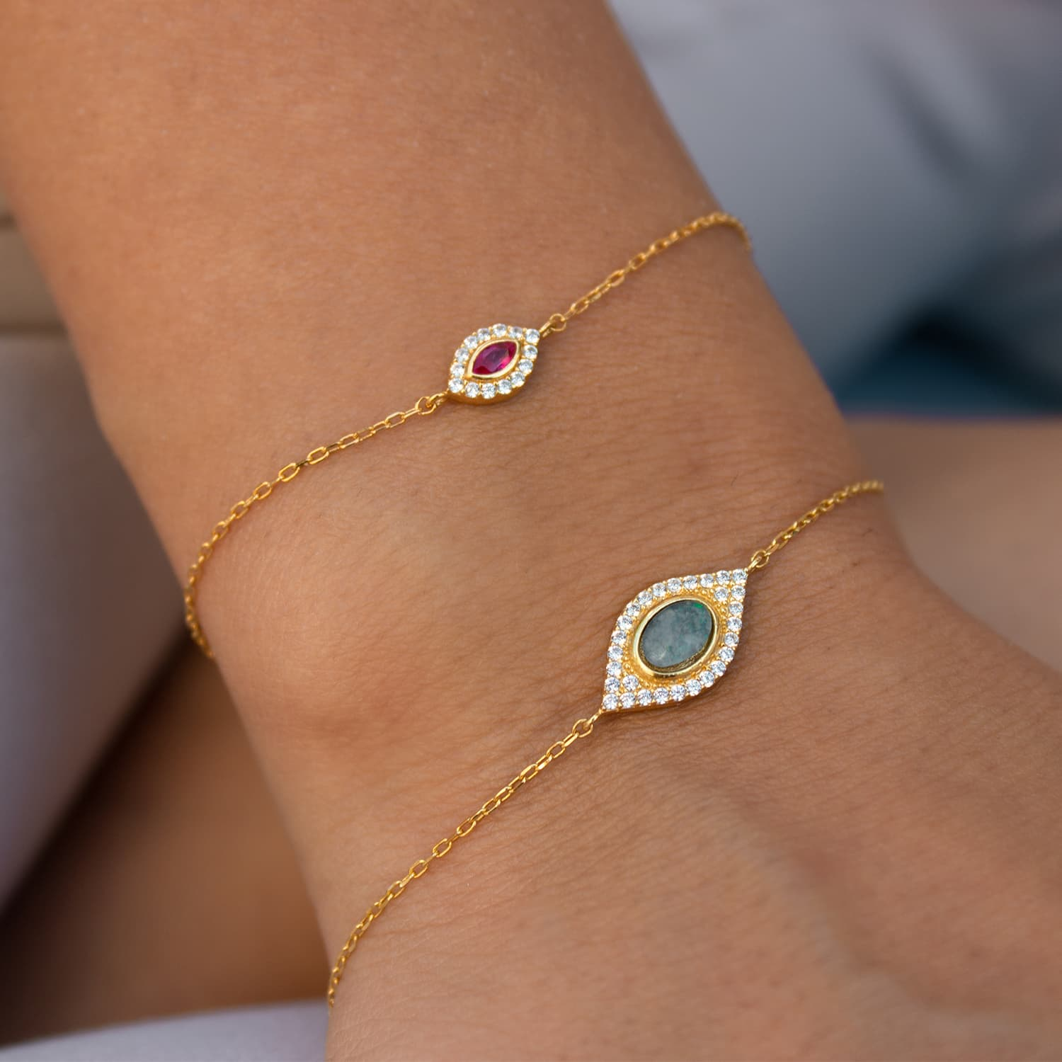 Gold plated silver stone minimal bracelet models