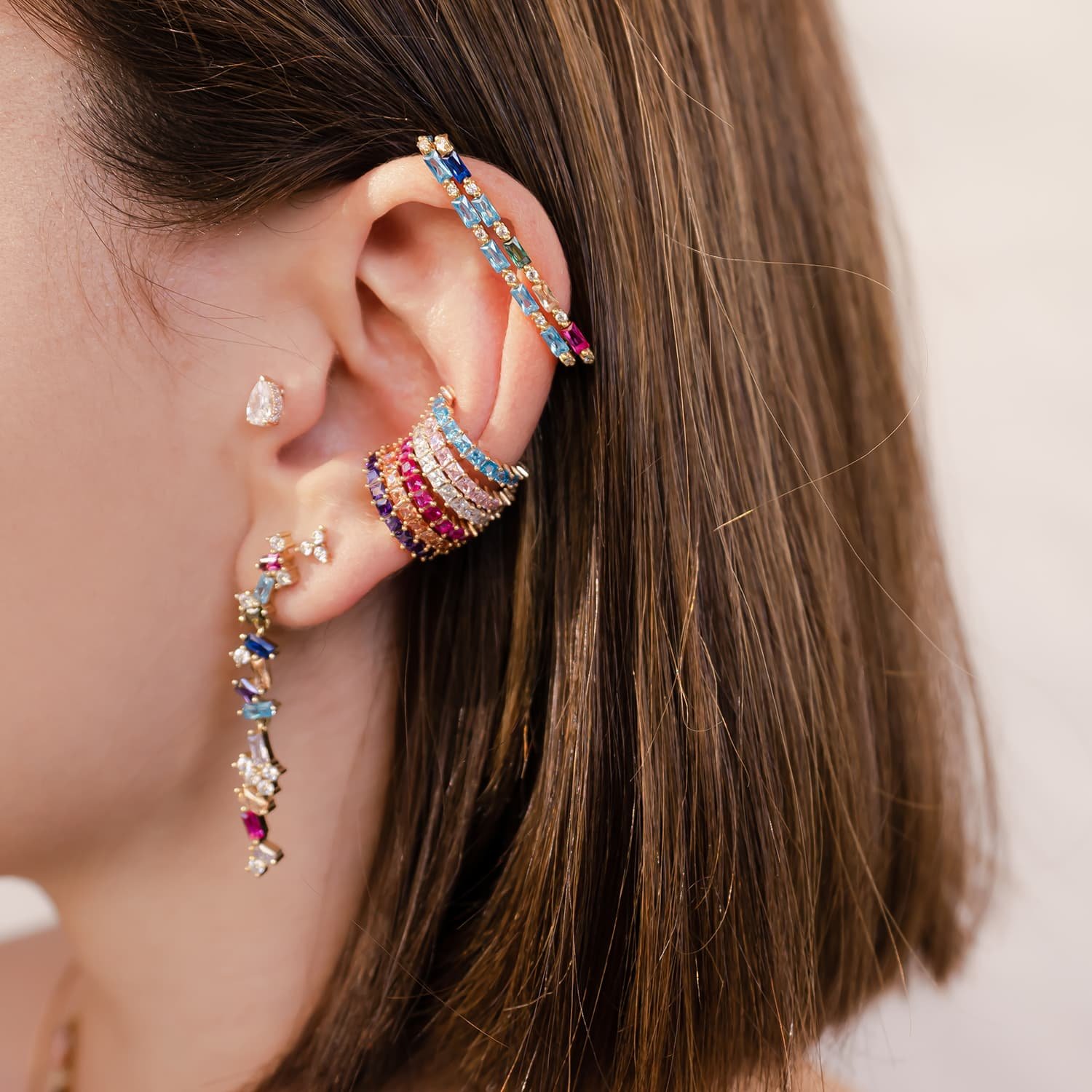 Gold-plated minimal earcuff models