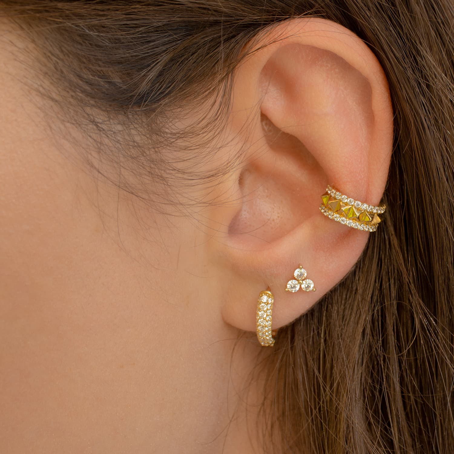Gold plated stone earring models