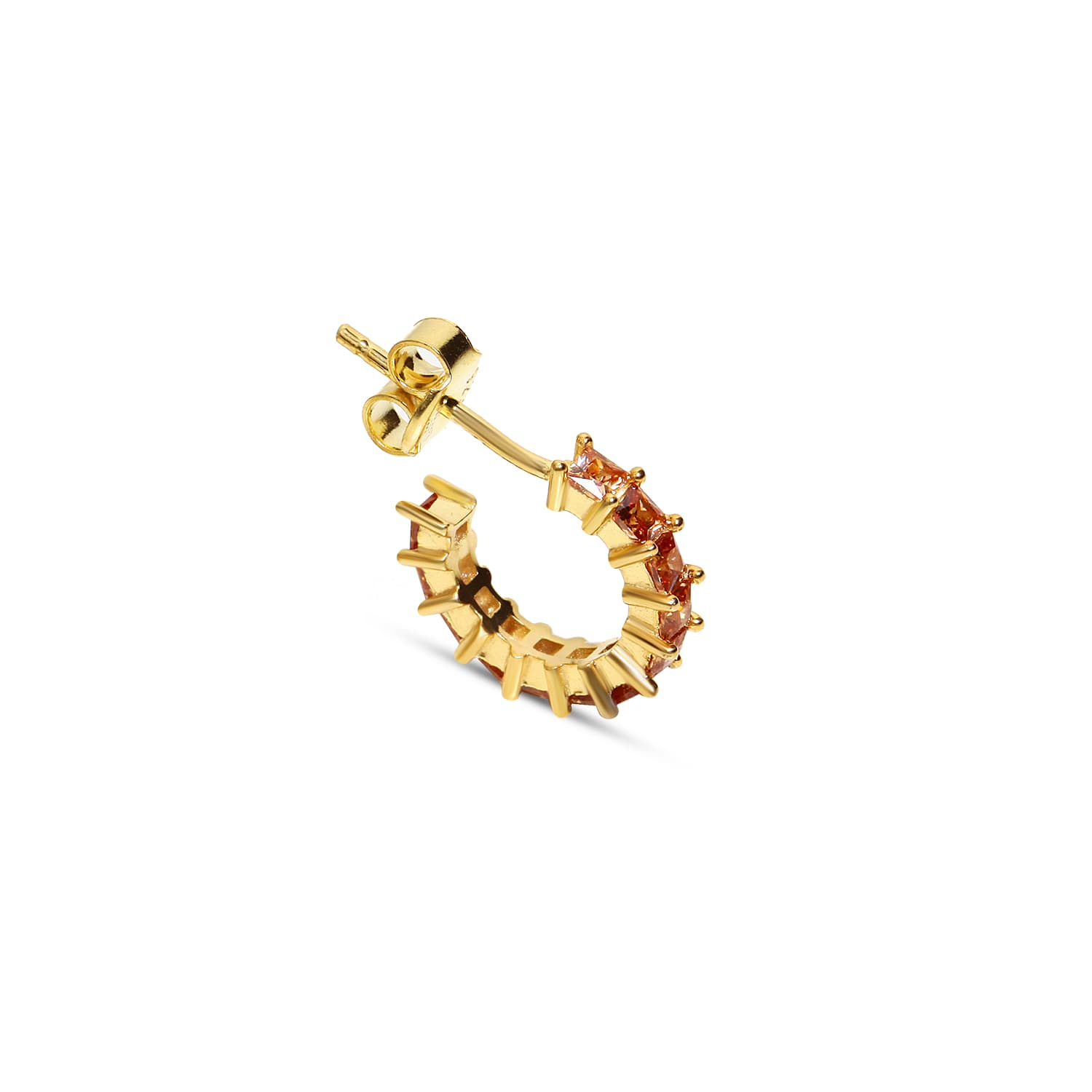 Gold plated silver stone minimal earring models