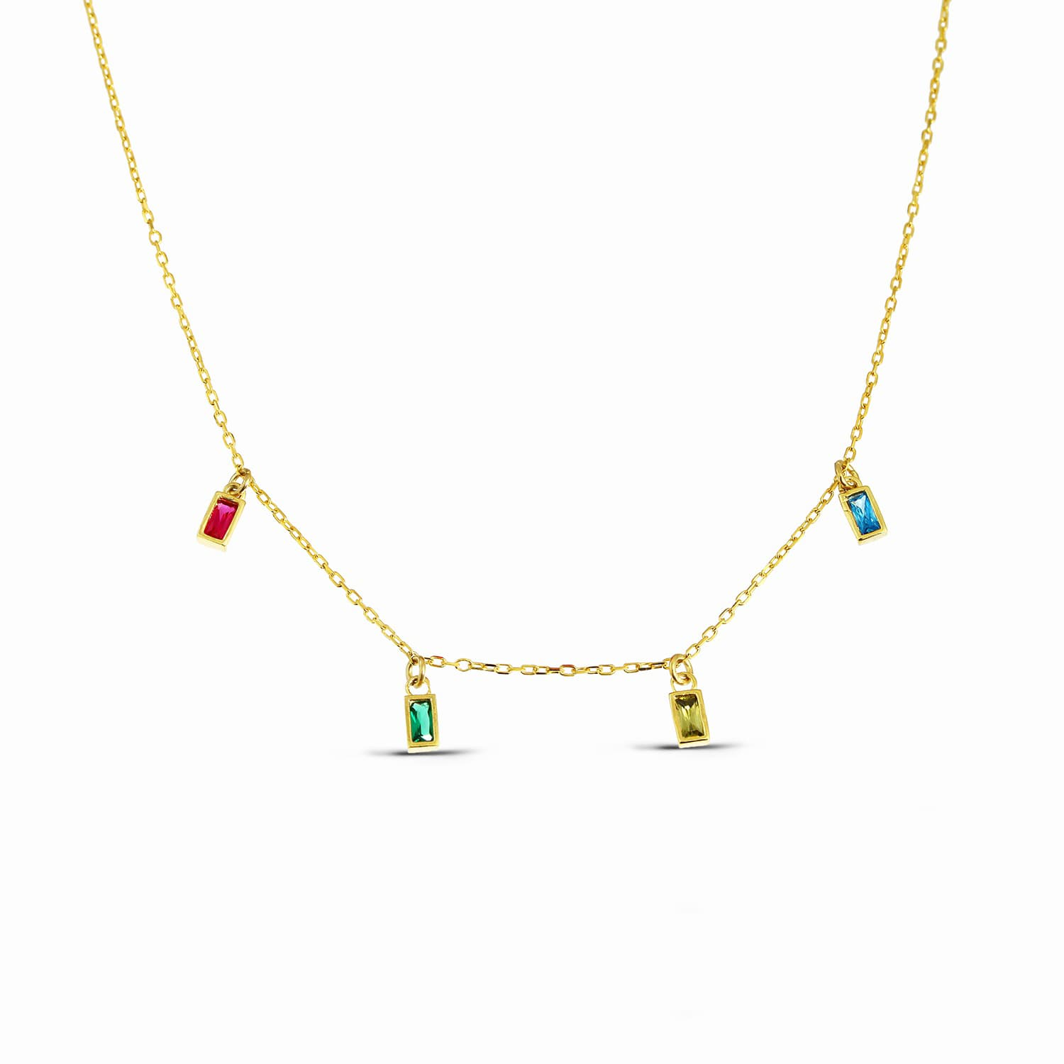 Gold plated silver colored stone necklace models