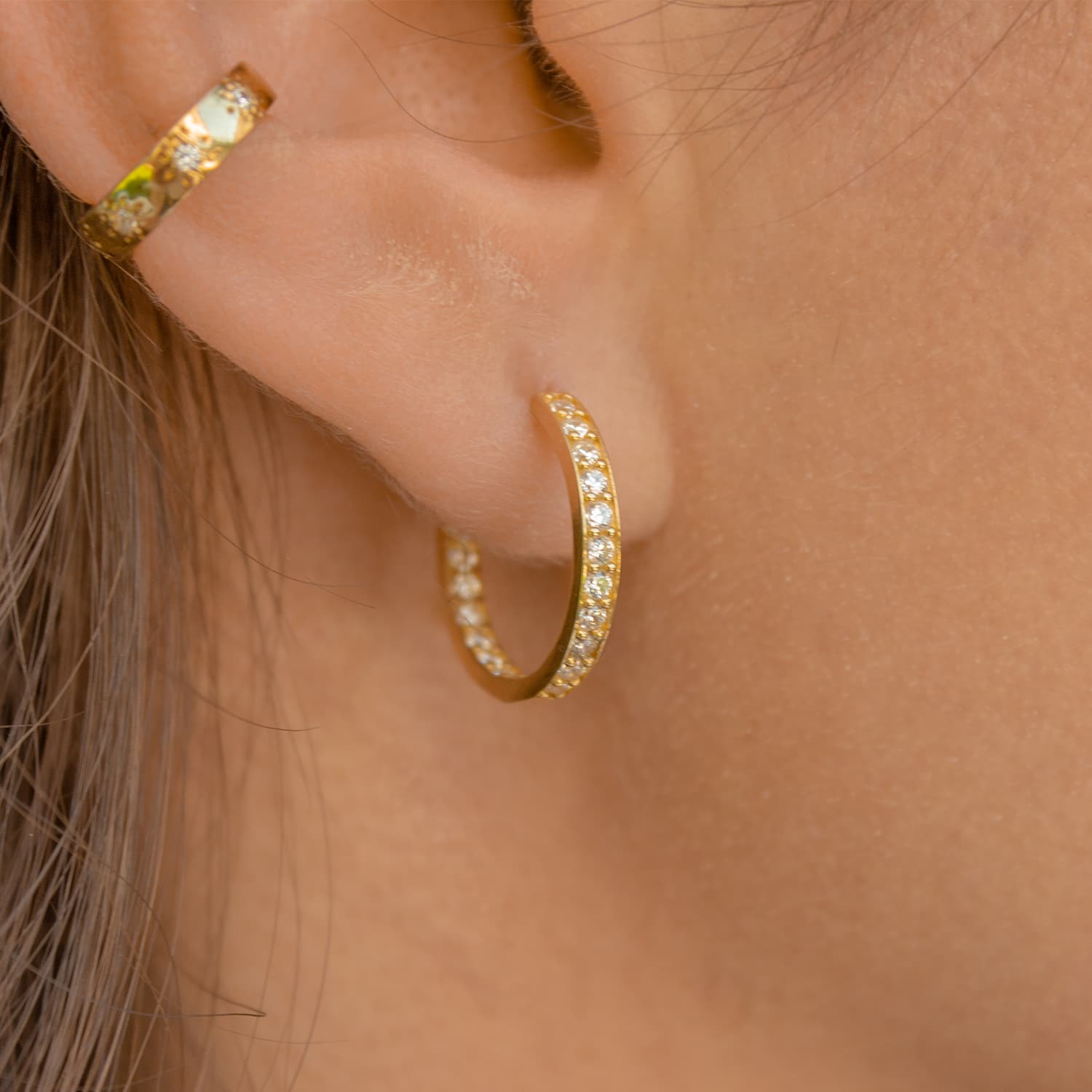 24 carat gold plated stone hoop earrings models on silver