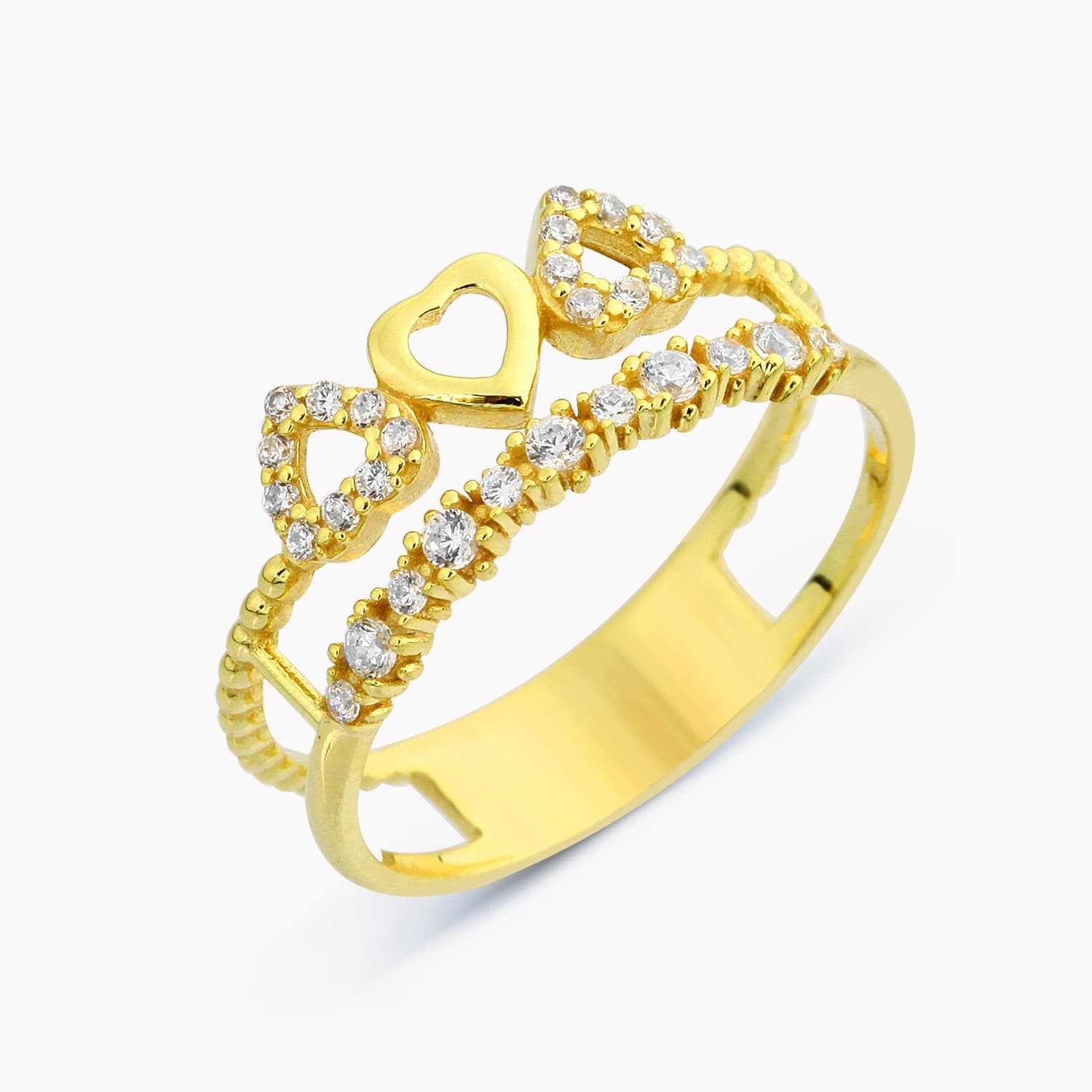 HEARTED TWIN RING