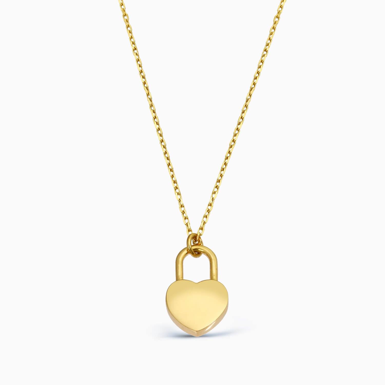 gold plated heart lock necklace