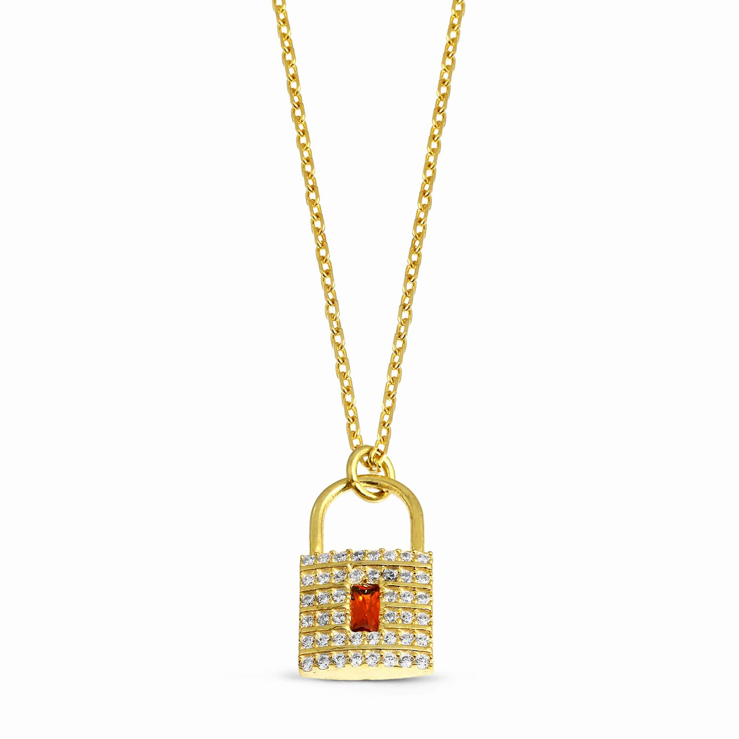 gold plated lock necklace