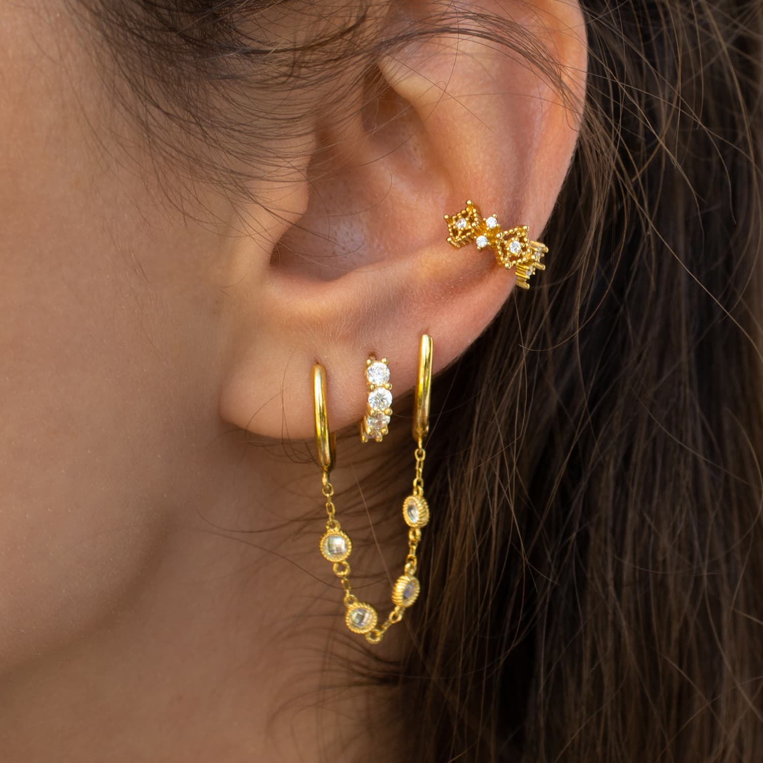 gold plated mini hoop earrings