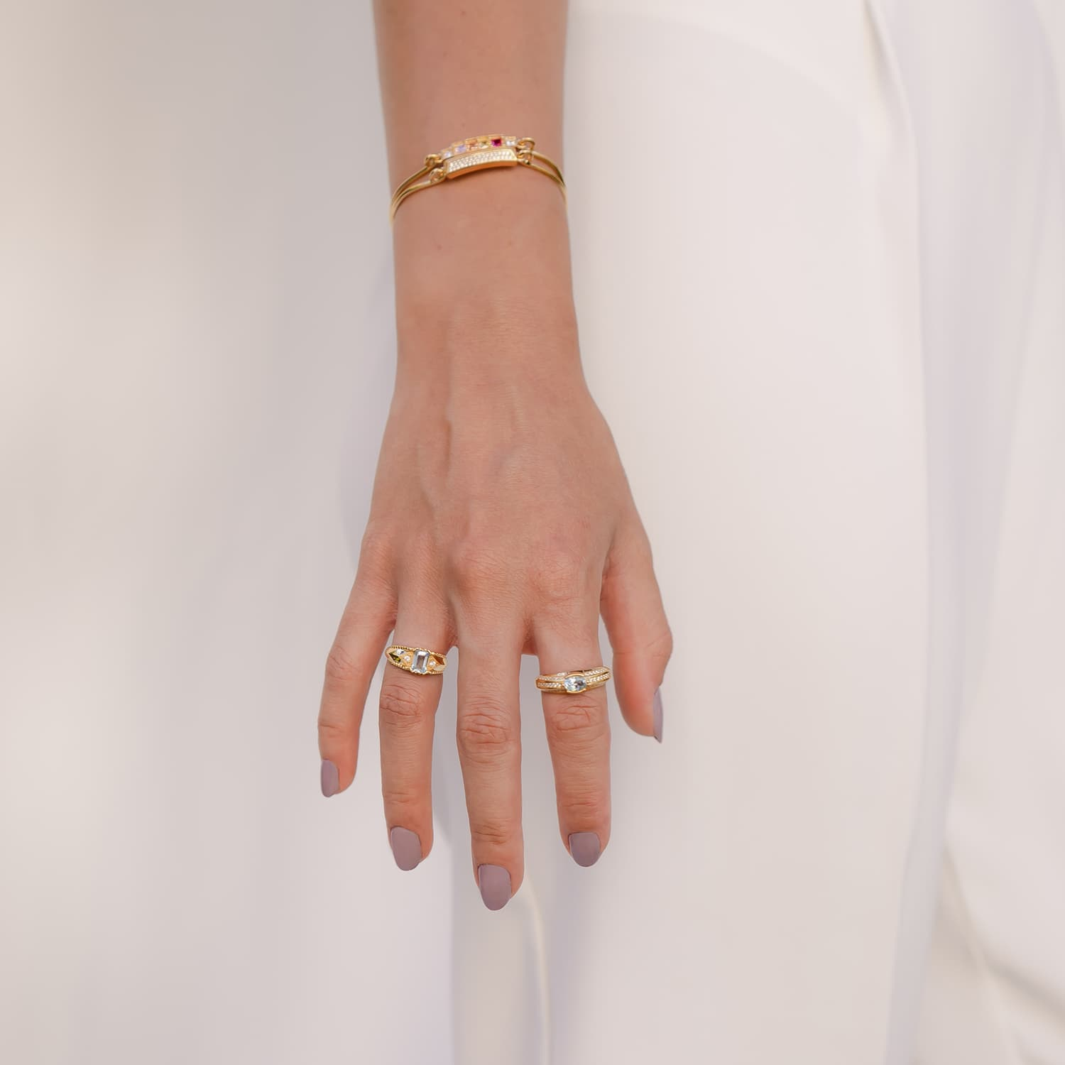 Gold plated silver natural stone ring models