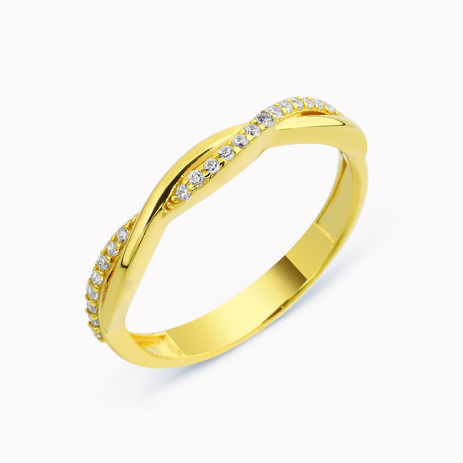 gold plated silver stone spiral ring