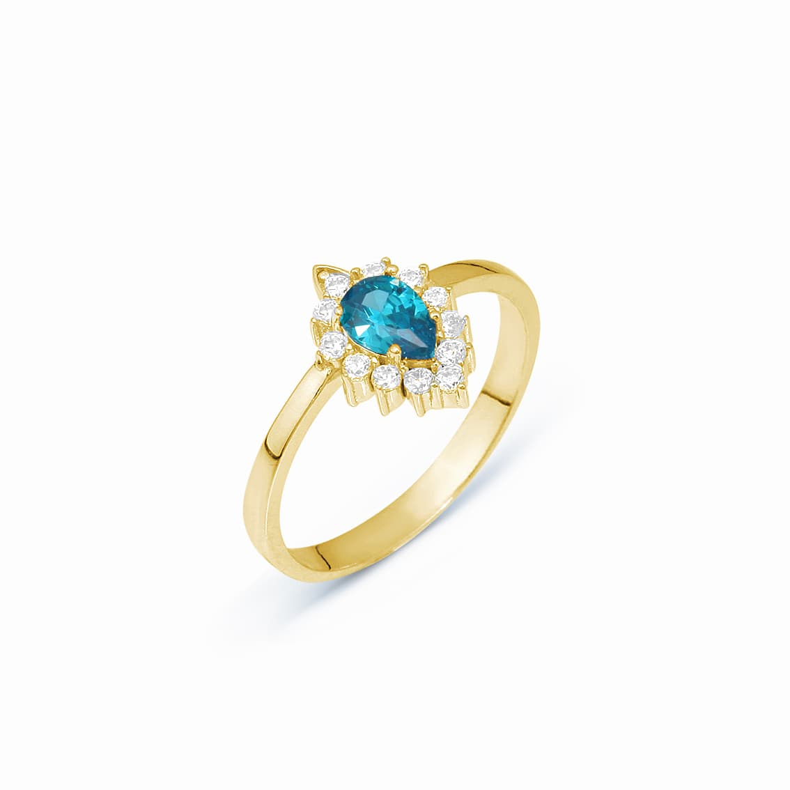 Drop Colored Gemstone Ring - Blue Topaz