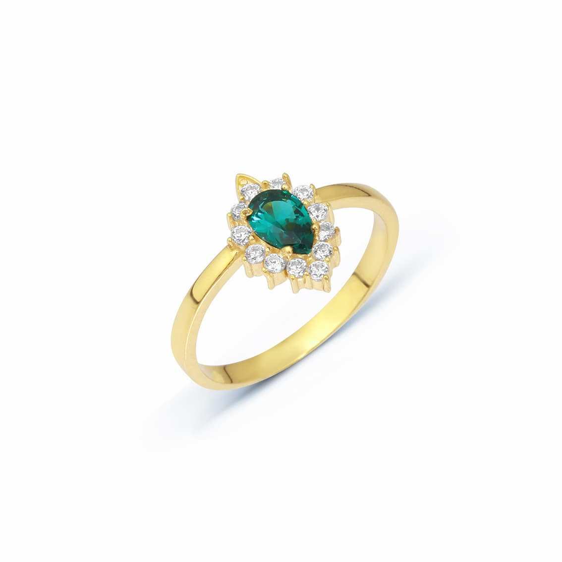 Drop Colored Zirkon Ring - Green