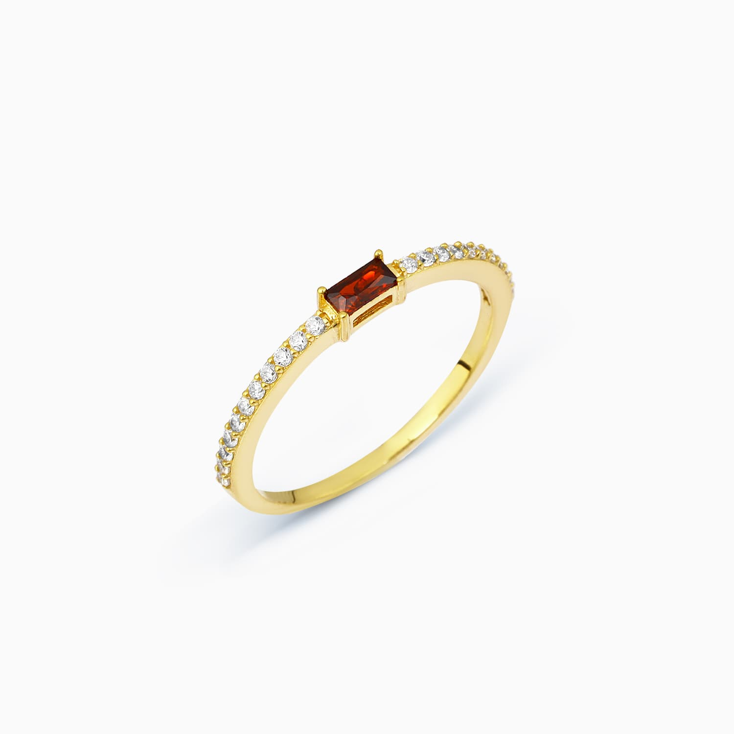 Lucy Color Stone Ring - Garnet