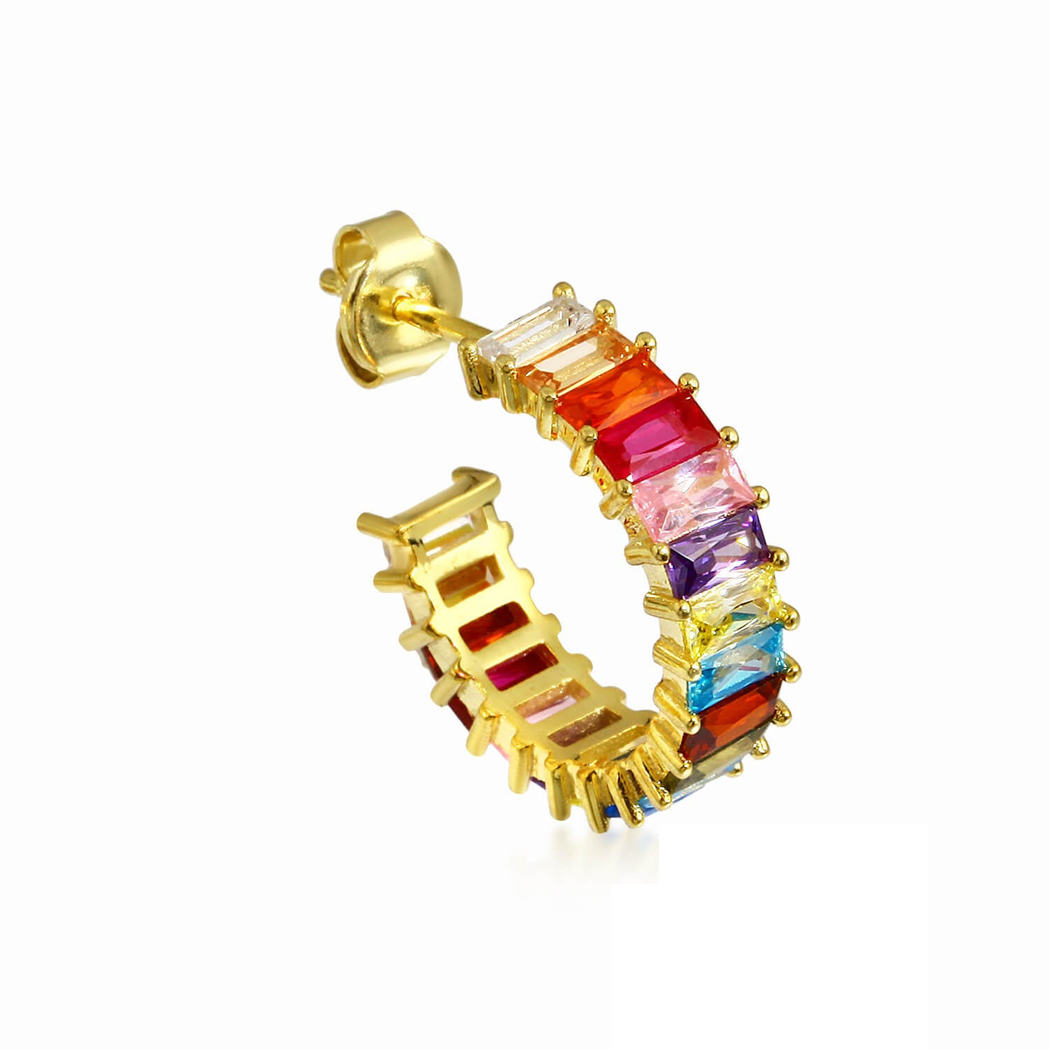 gold plated colored stone earrings