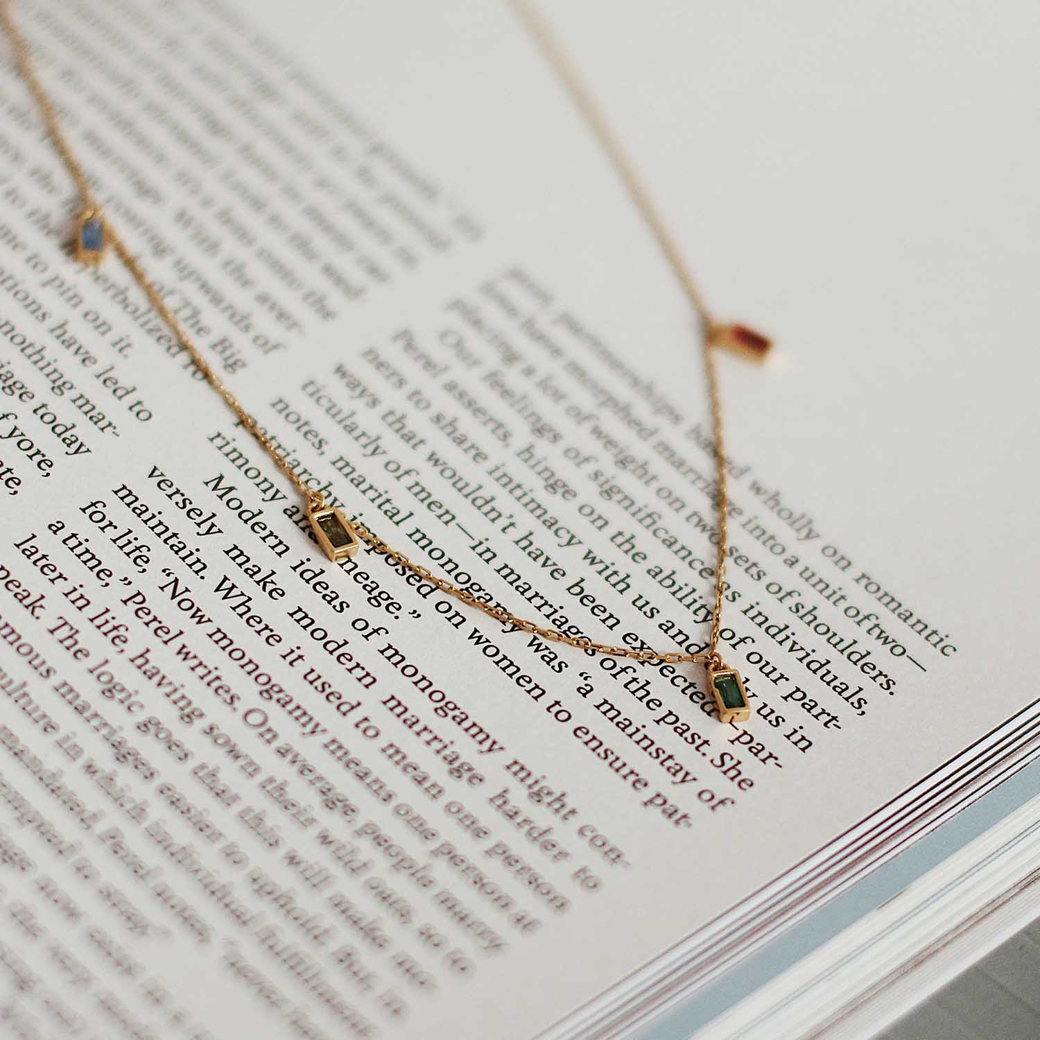 gold plated stone necklace