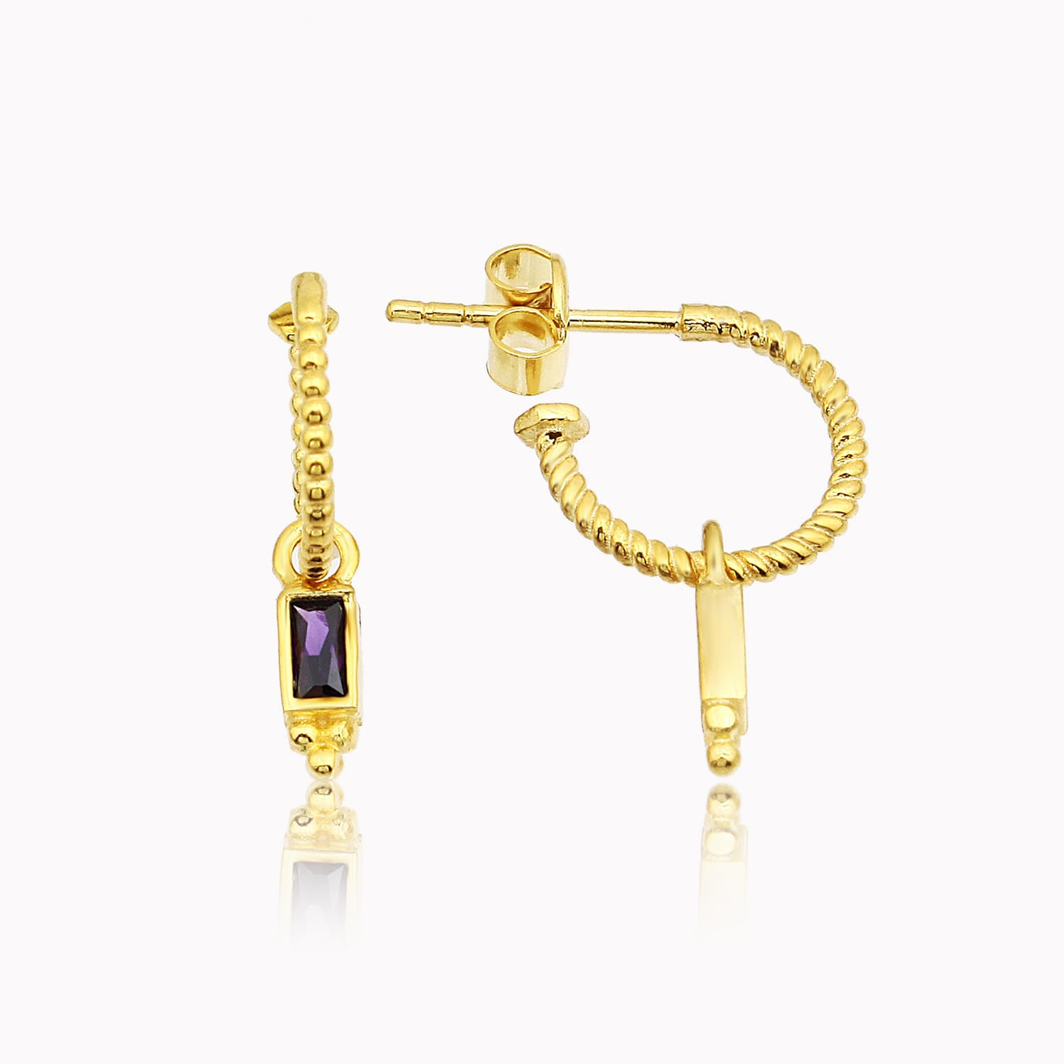 gold plated solitaire earrings