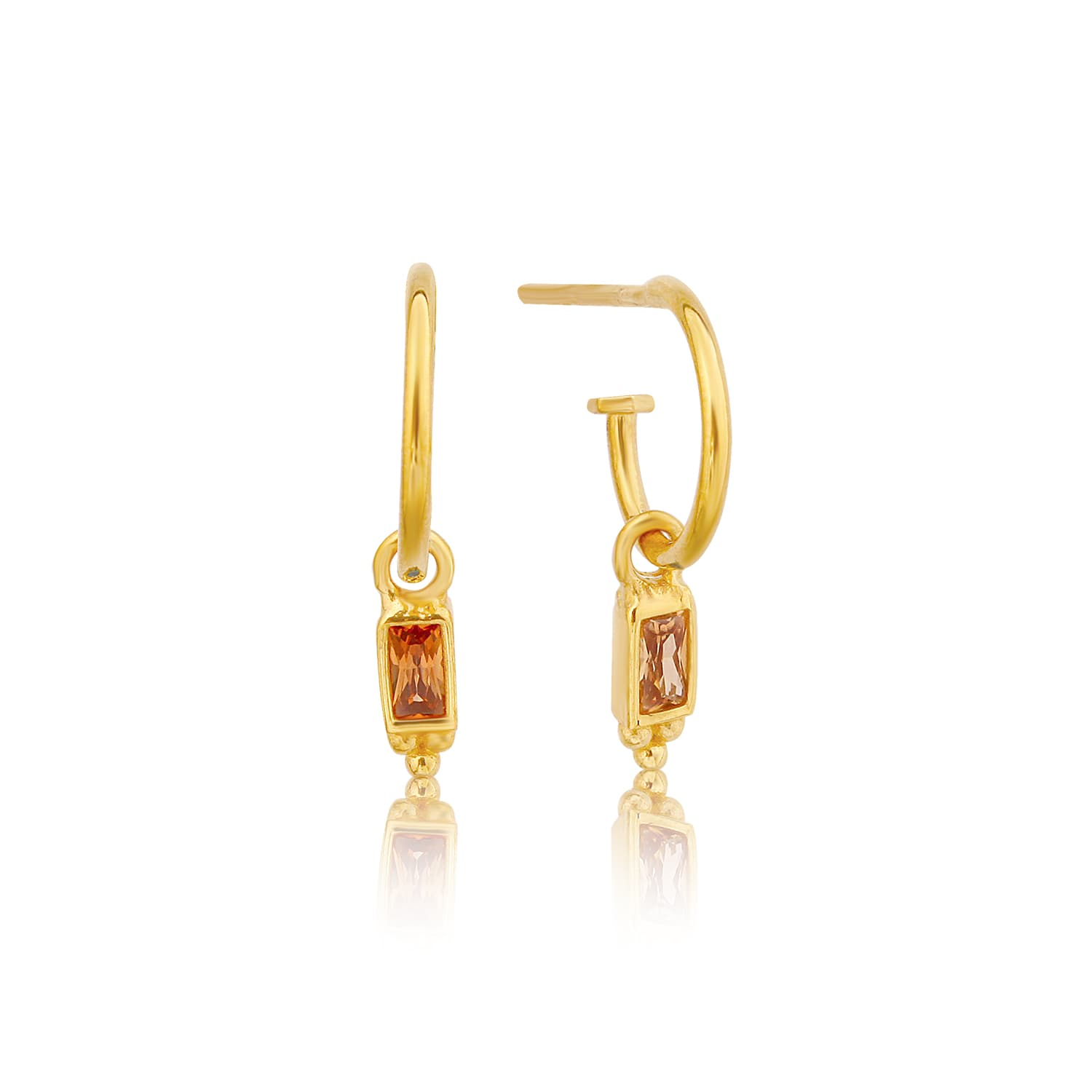 SUGAR SOLO CITRINE - GOLD-PLATED EARRINGS