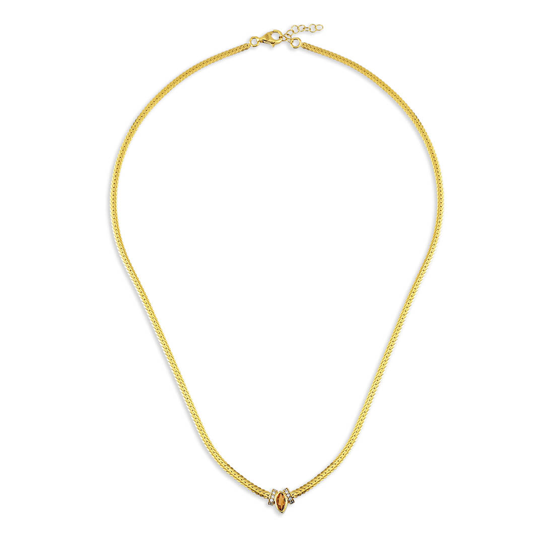MARQUISE CITRINE NATURAL STONE NECKLACE