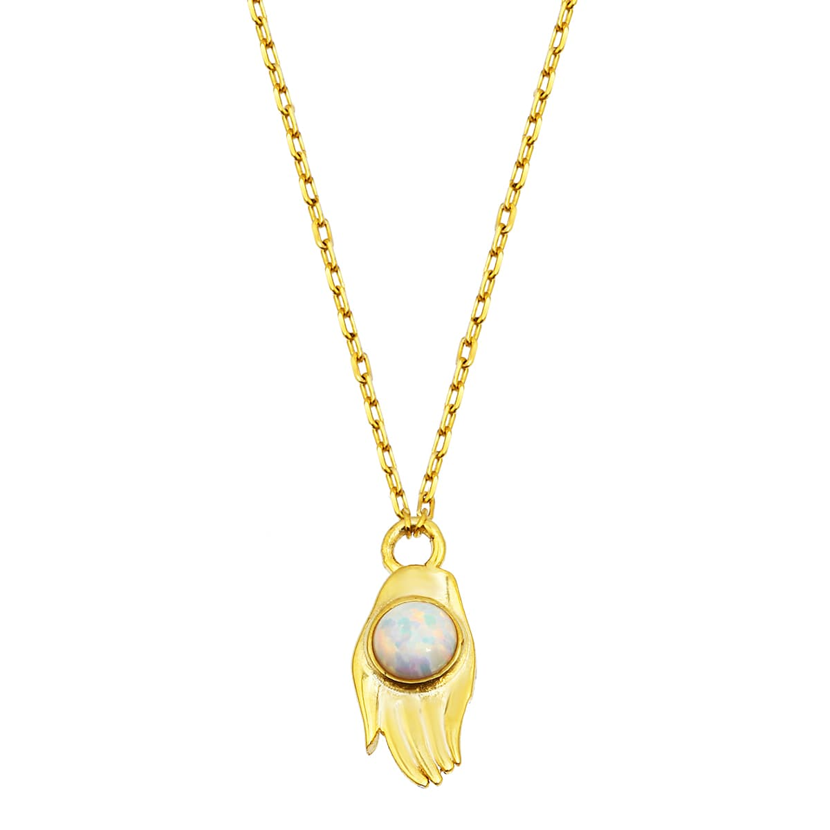 gold plated opal stone necklace