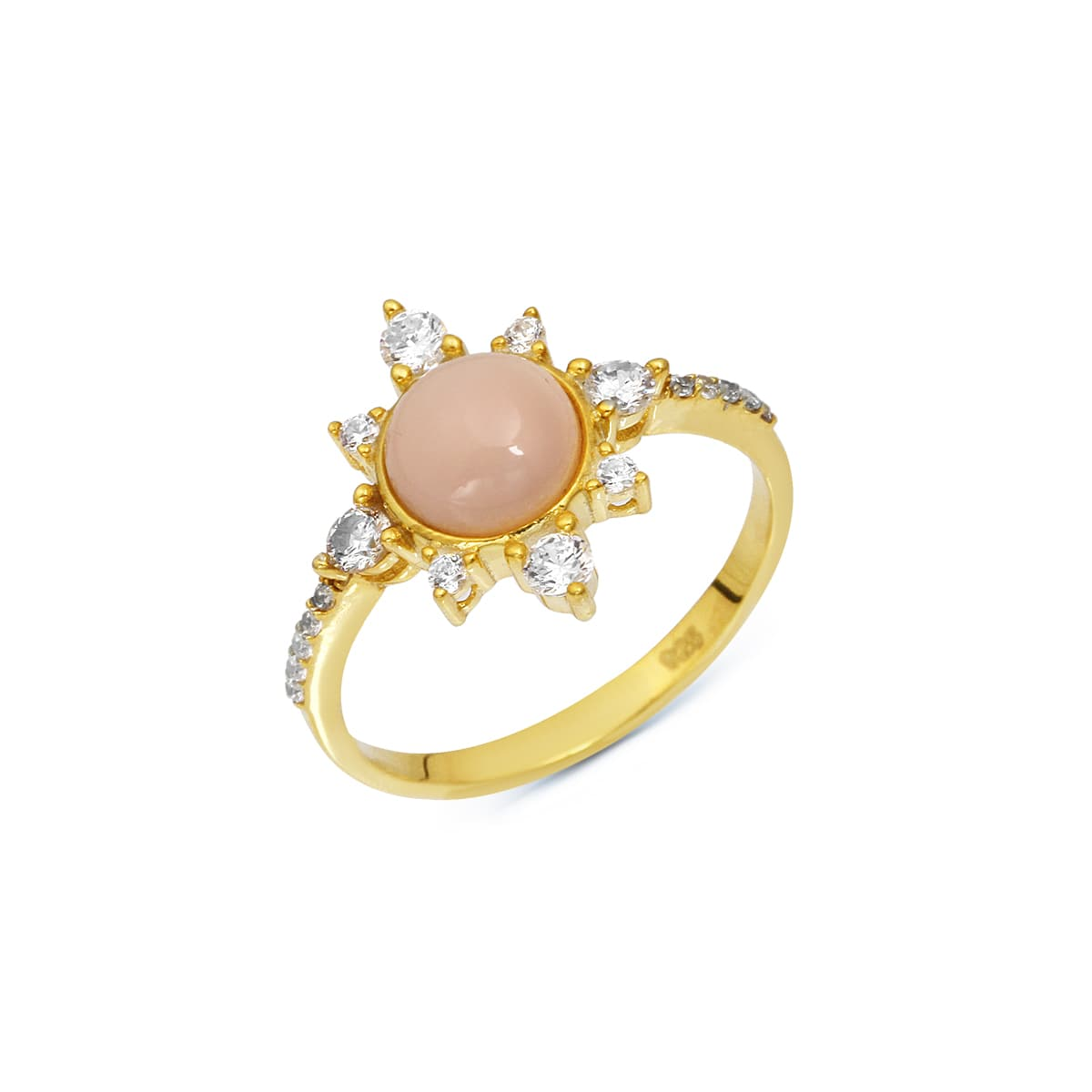 gold plated coral stone ring