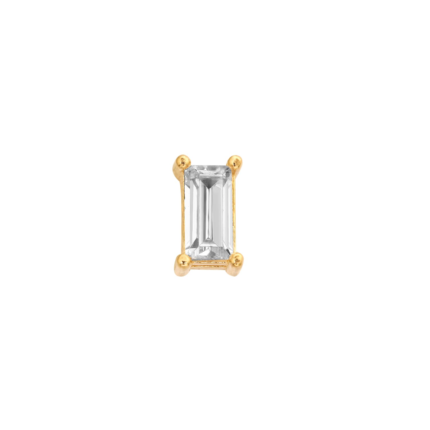 14k gold piercing with baguette stone