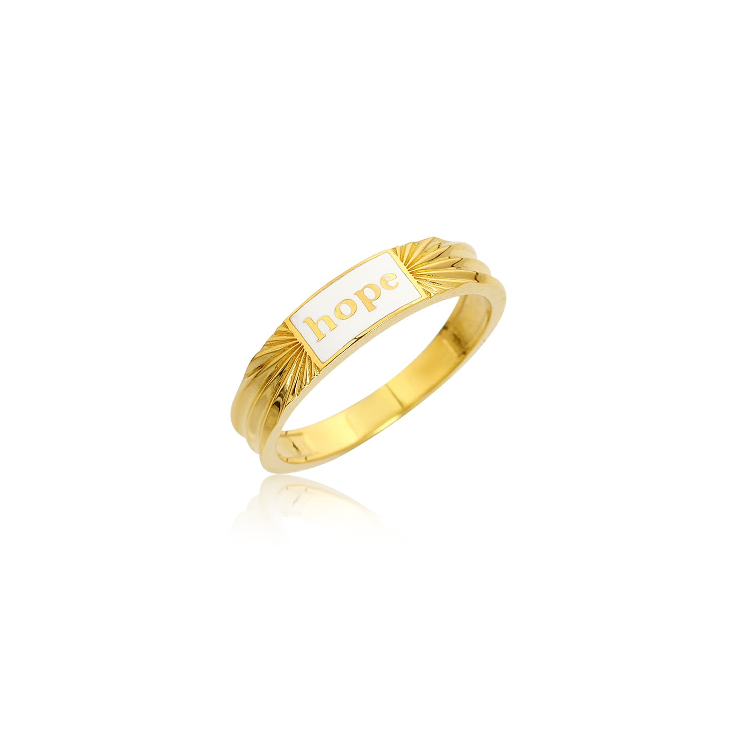 Real gold plated white enamel ring on silver