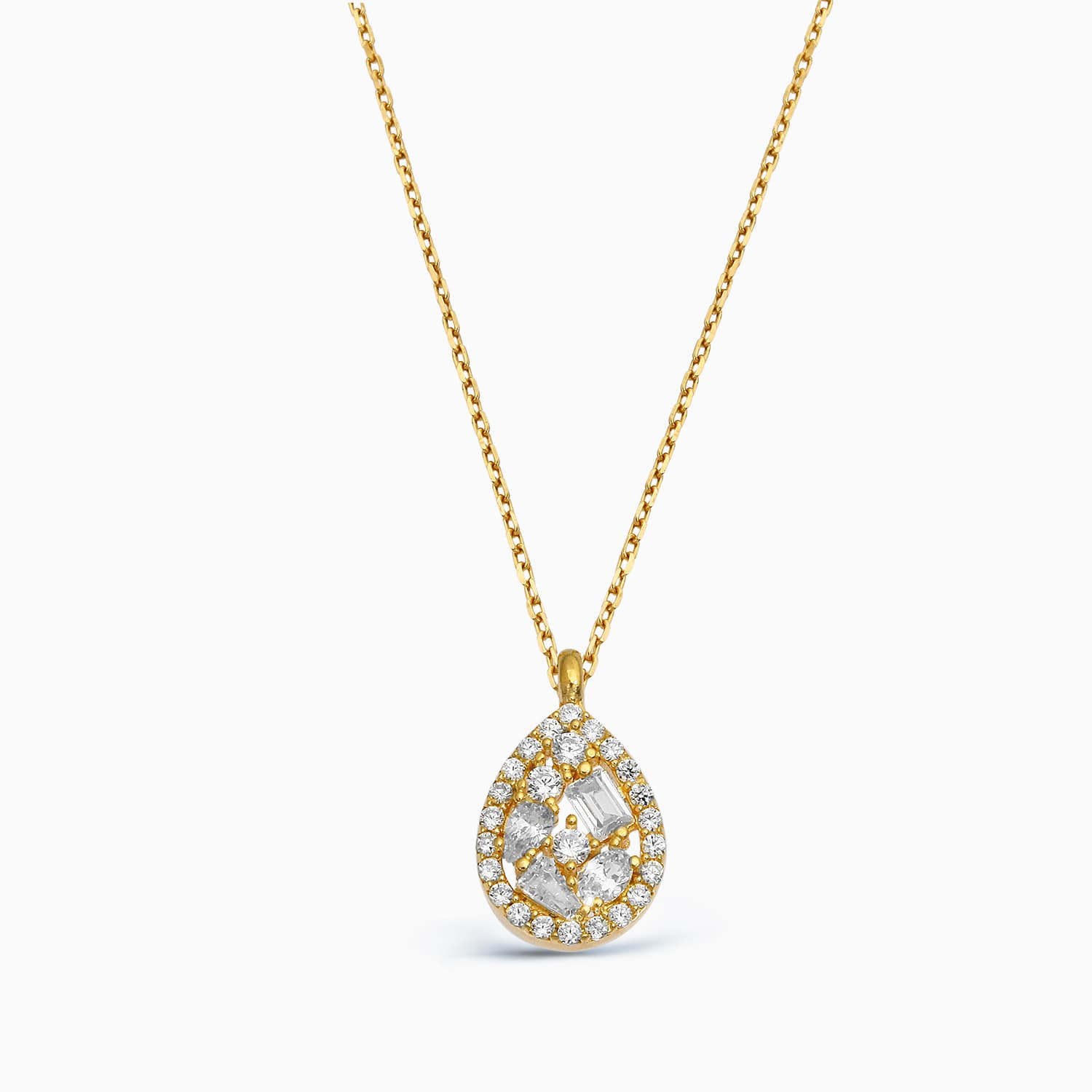 gold plated baguette stone drop necklace