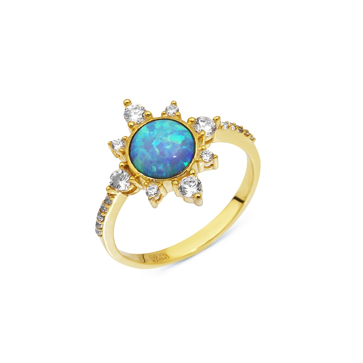 gold plated opal stone ring