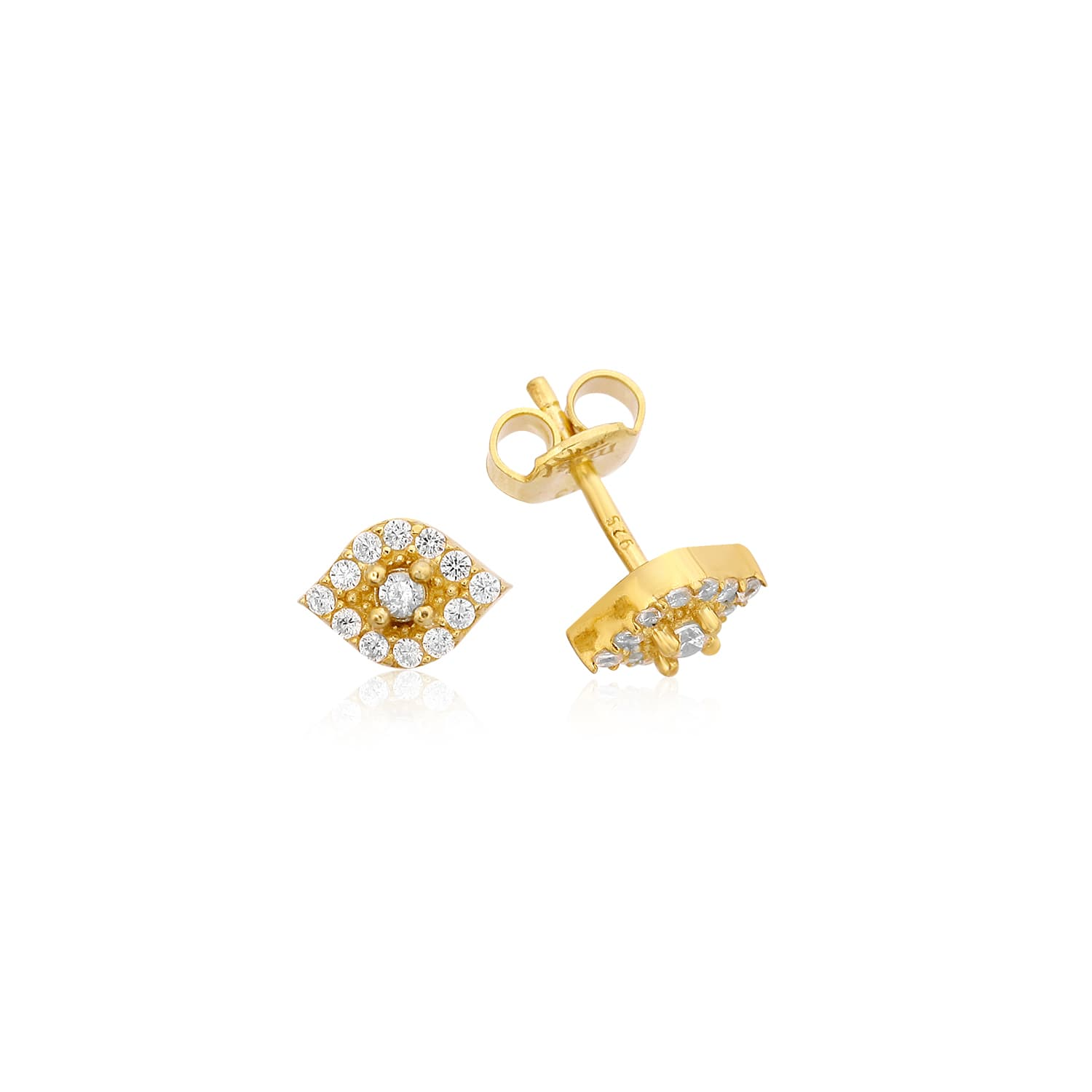real gold plated silver pin earrings