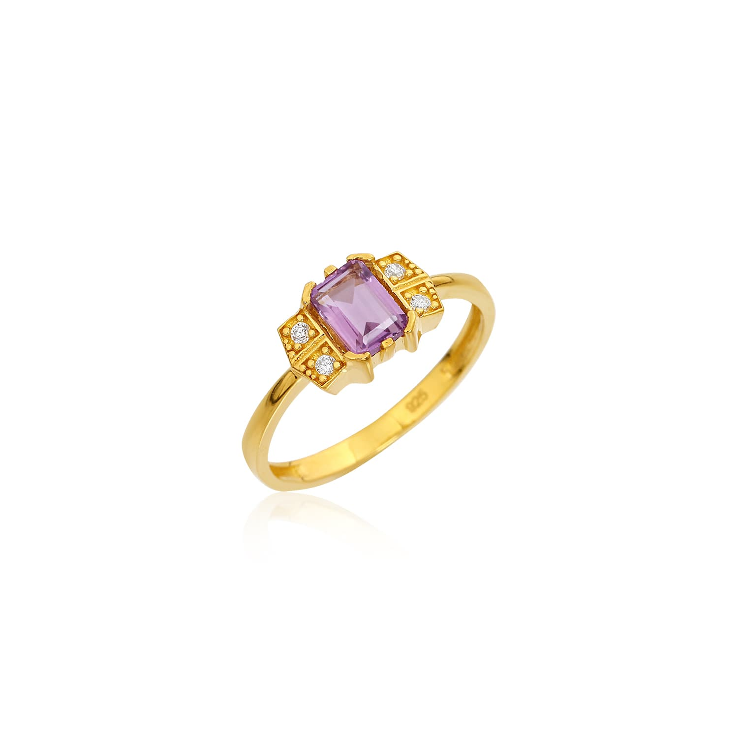 Gold plated natural amethyst stone ring models