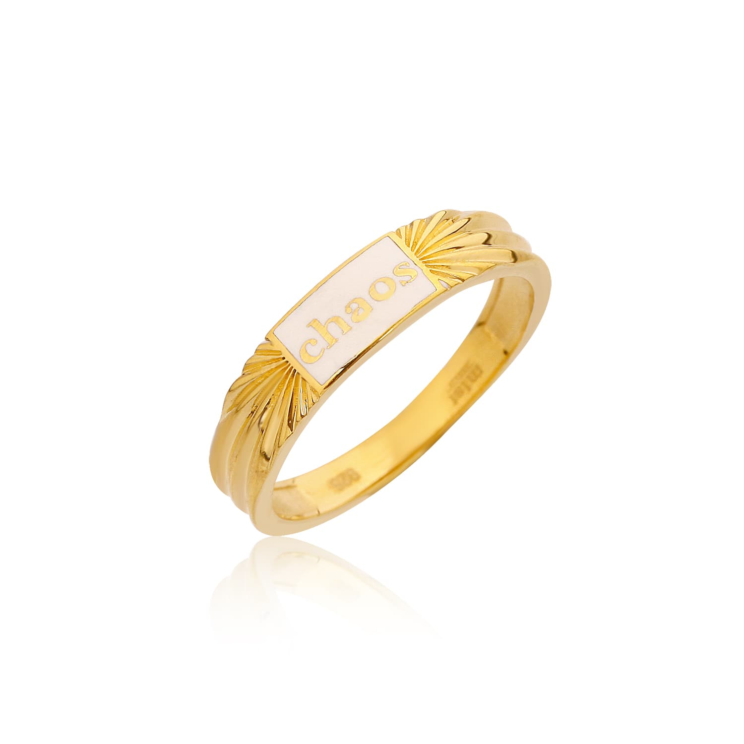 gold plated white enamel ring