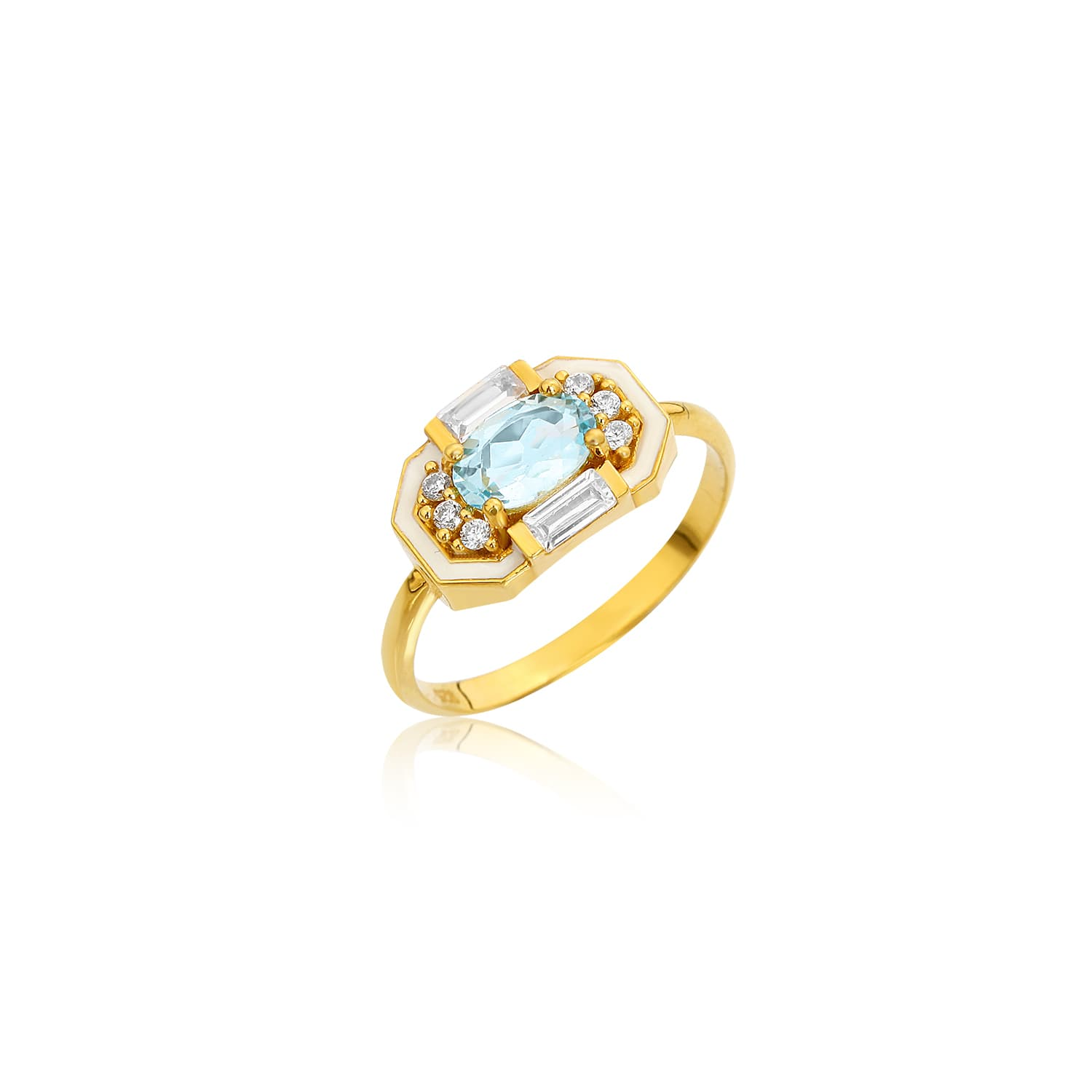 Real gold plated oval cut blue topaz stone ring on silver