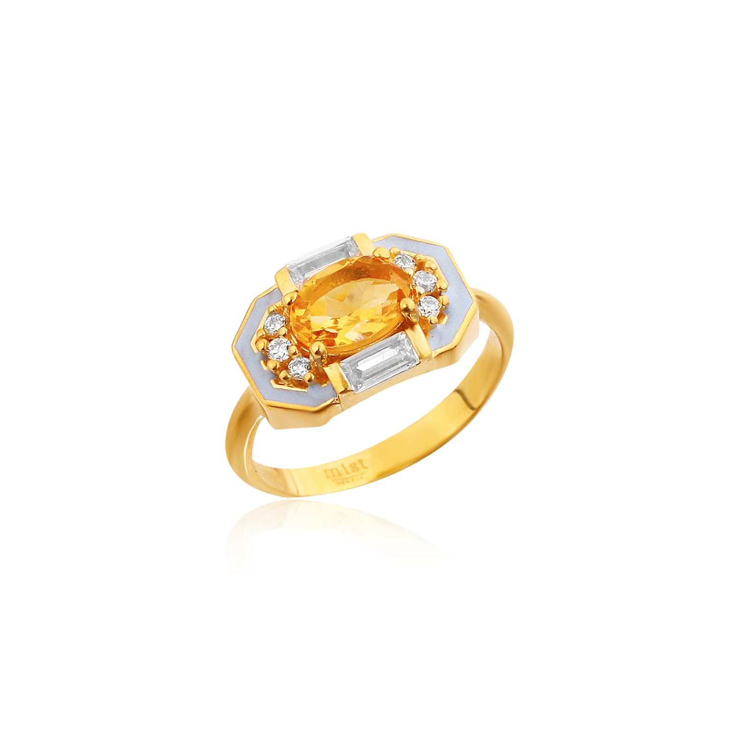 Real gold plated enamel and citrine stone ring on silver