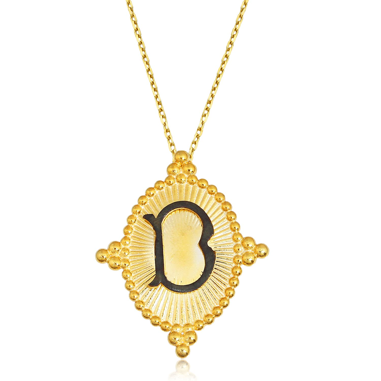 24K gold plated real silver letter D necklace