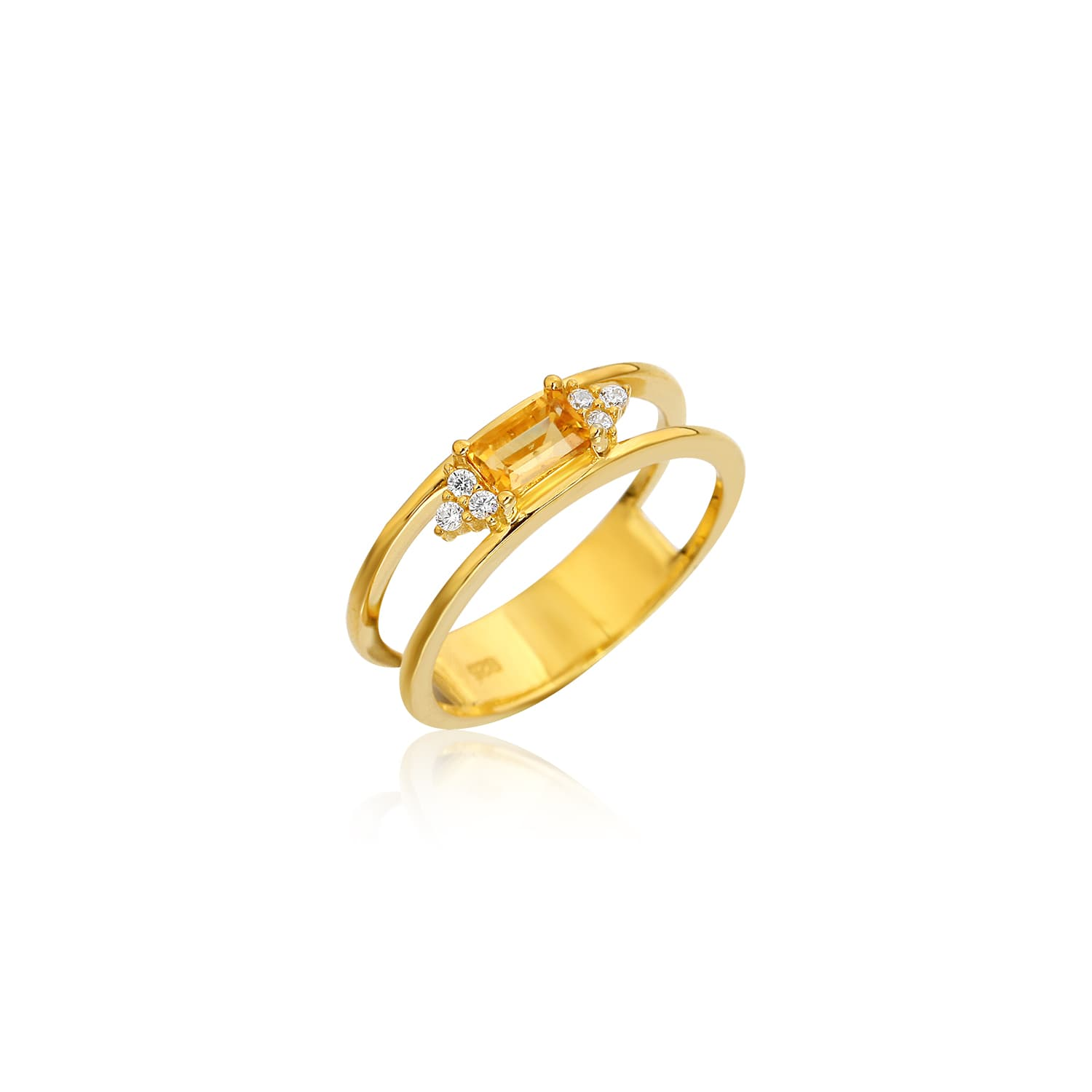 Real gold plated Citrine stone ring models on silver