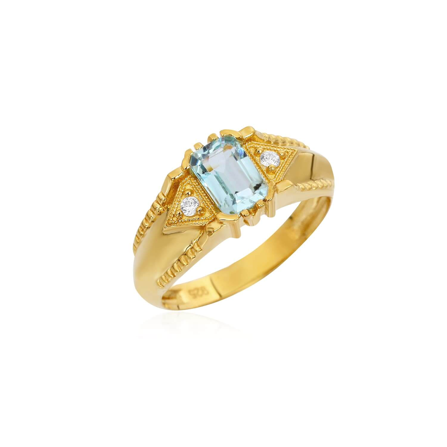 Natural stone gold plated silver ring models