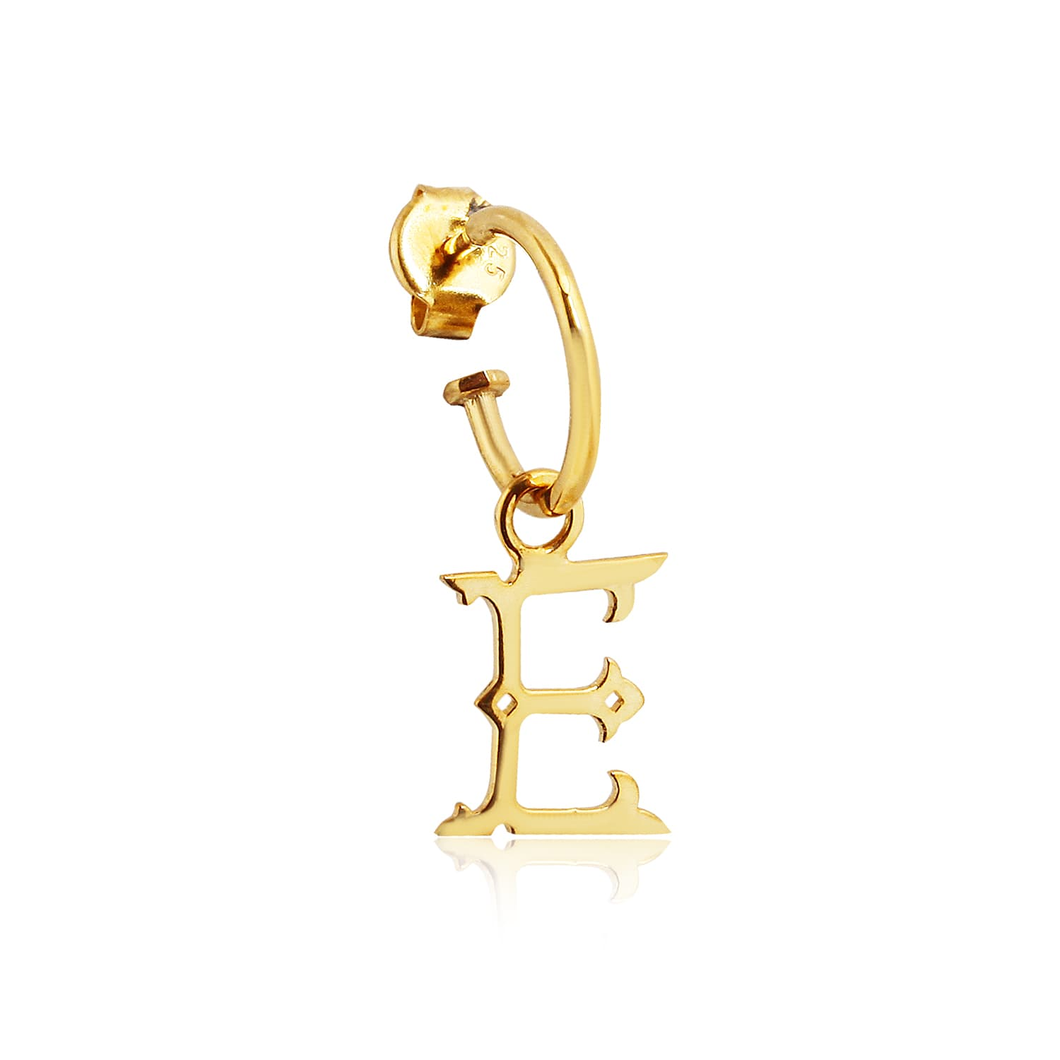 24K gold plated real silver letter E earrings