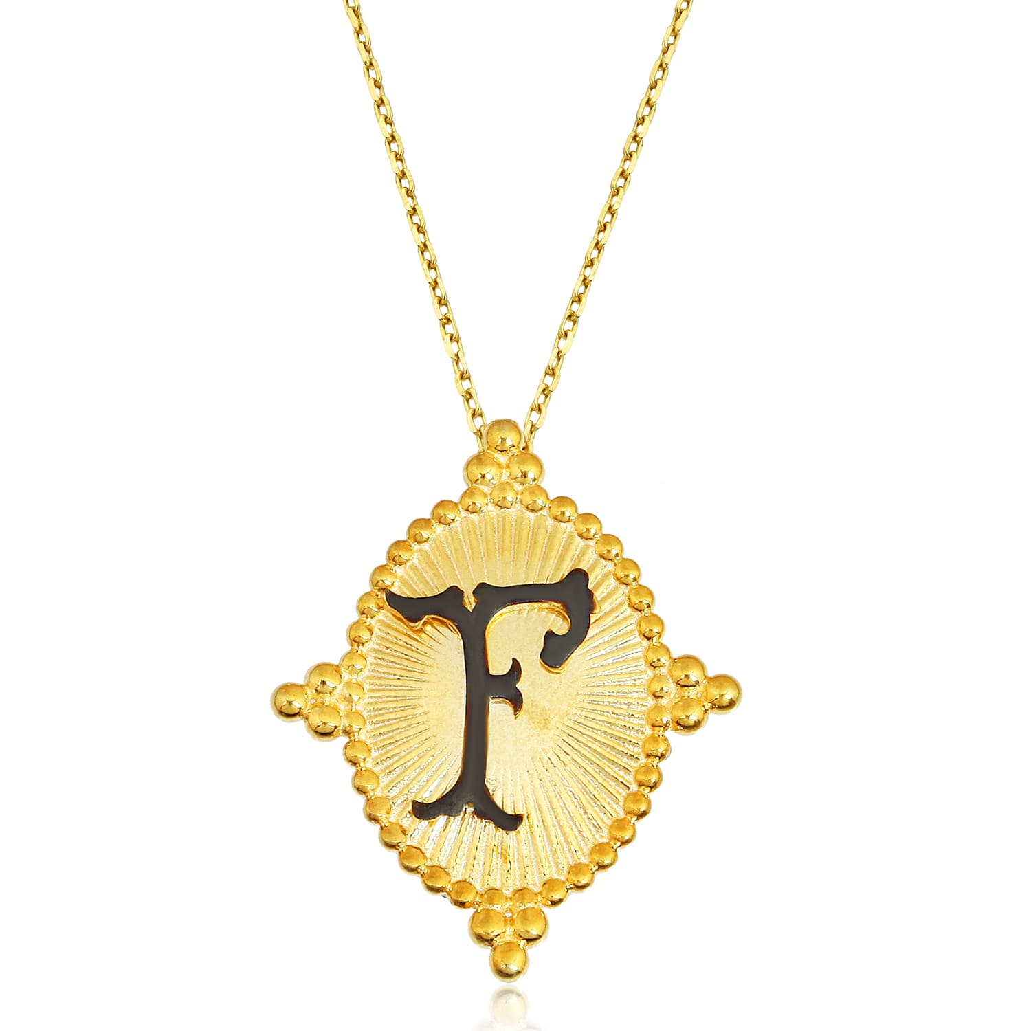 24K gold plated letter F pendant models