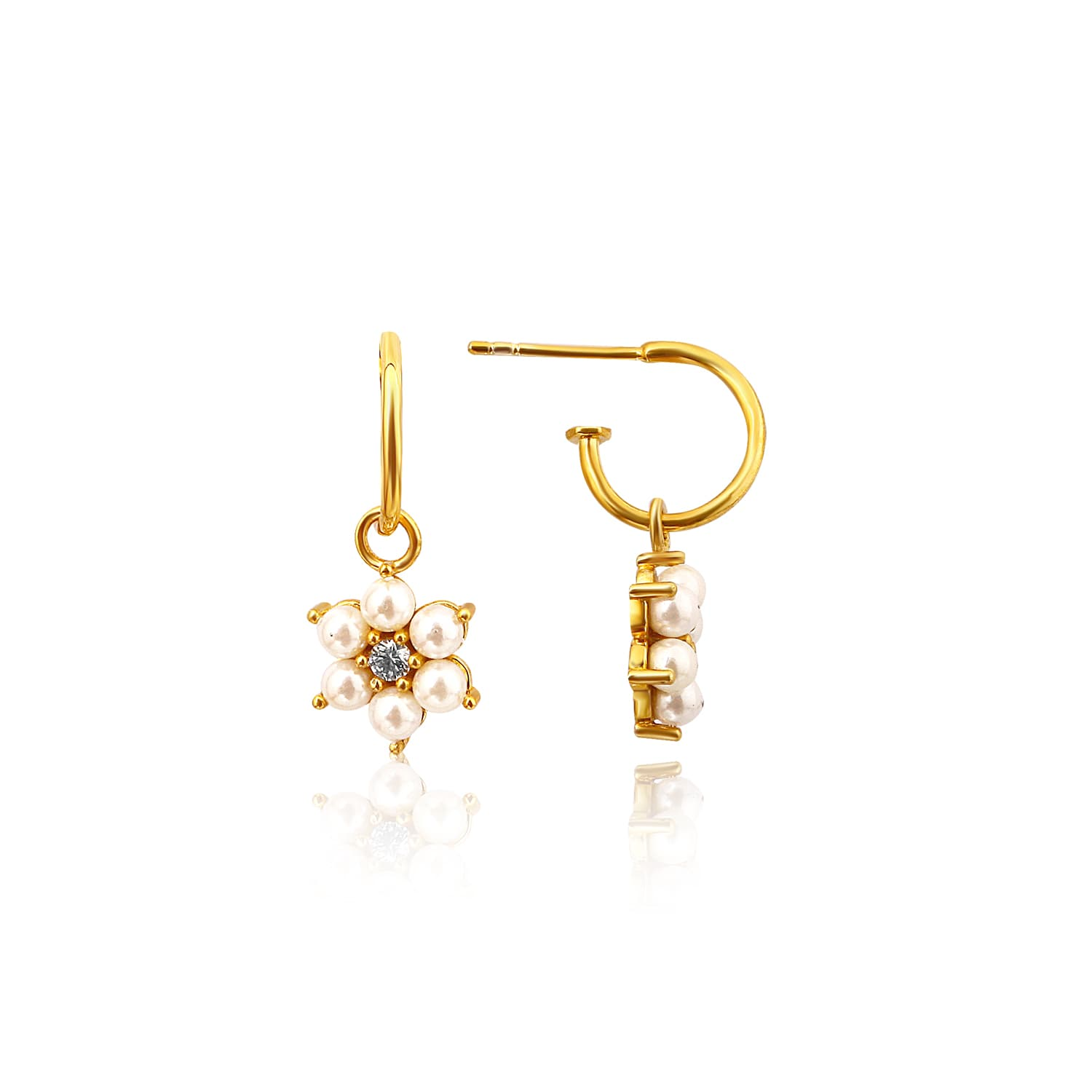 24 carat real gold plated pearl earrings models on silver