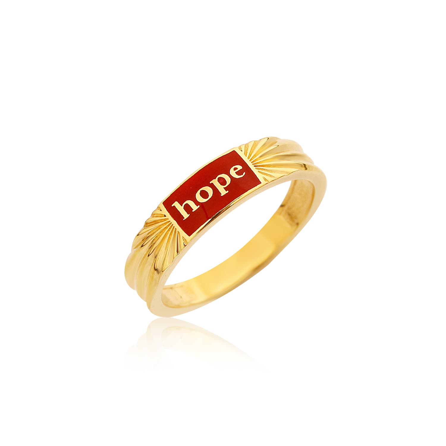 Real gold plated red enamel ring on silver