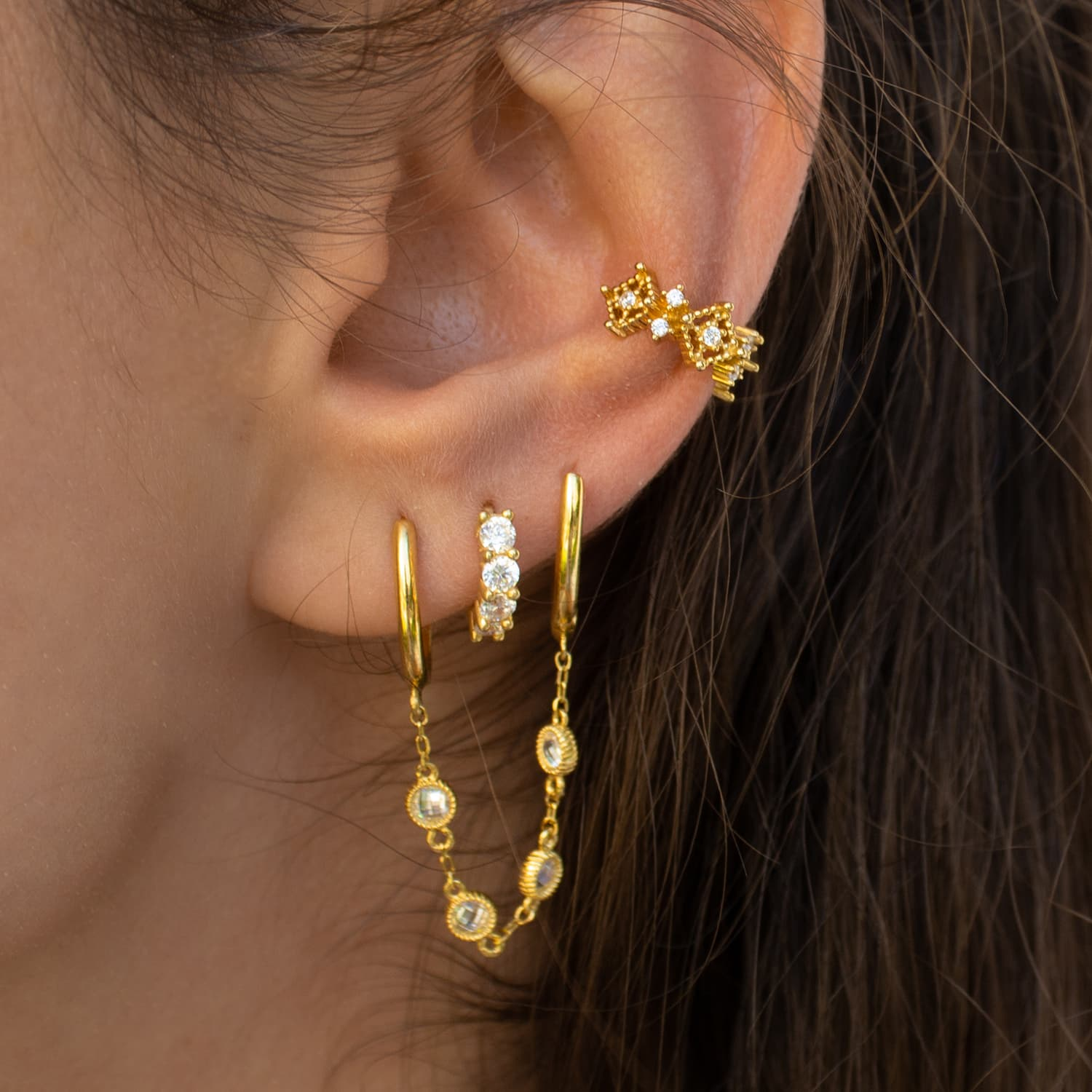 Real gold plated hoop earrings models on silver