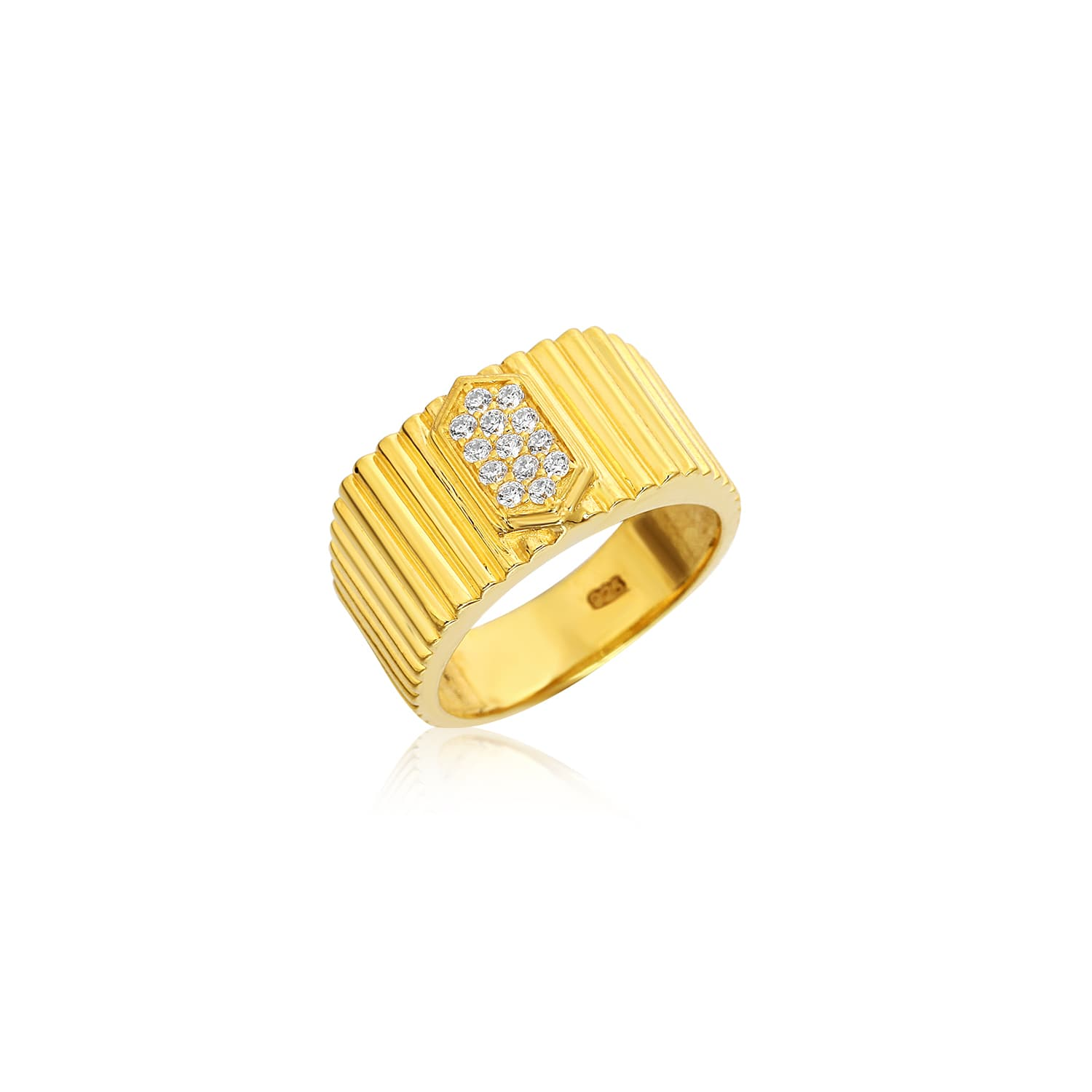 gold plated ring with zircon stone