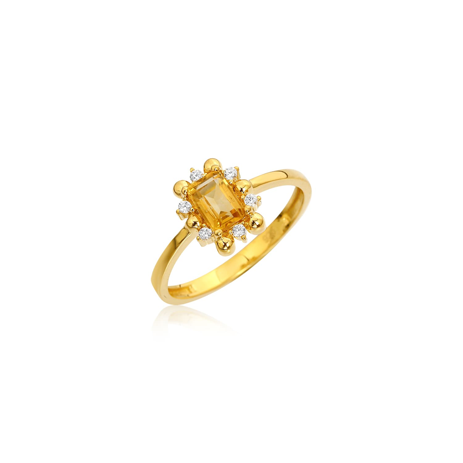 Gold plated ring models with natural citrine stone
