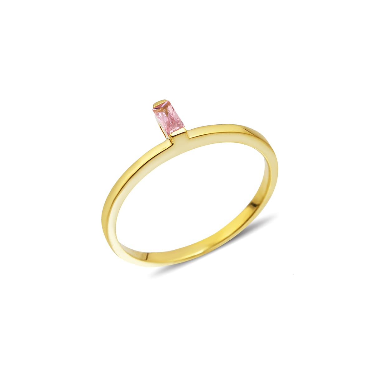 gold plated pink baguette stone ring
