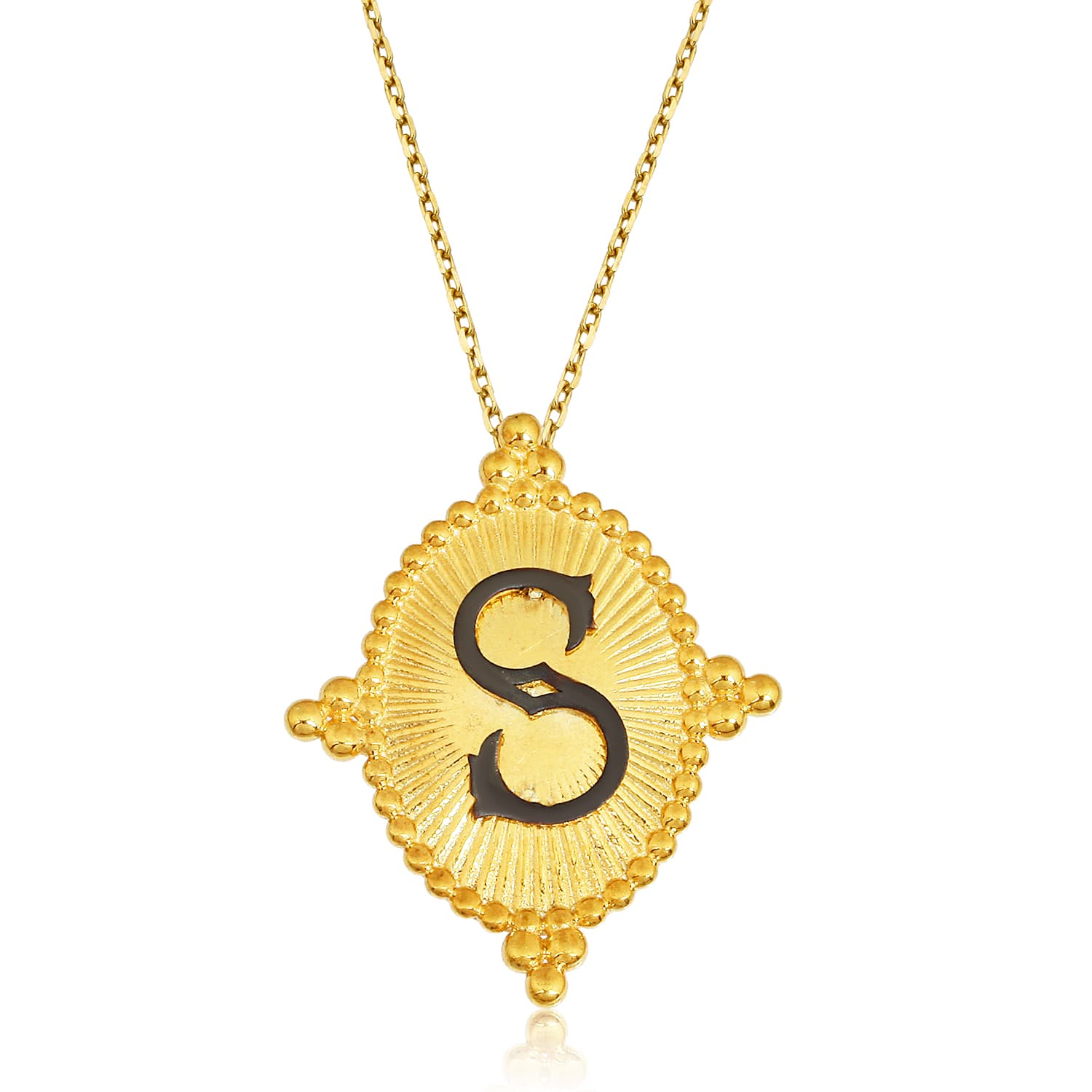 24K solid gold plated letter necklace models with real silver