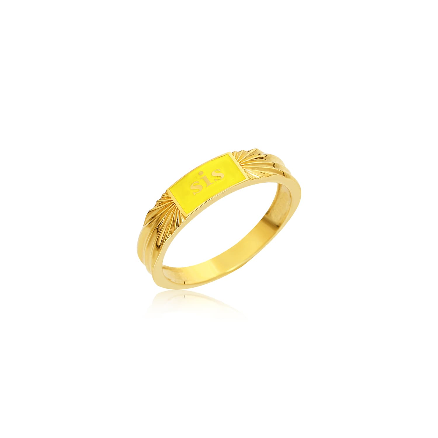 24 carat gold plated enamel ring on silver