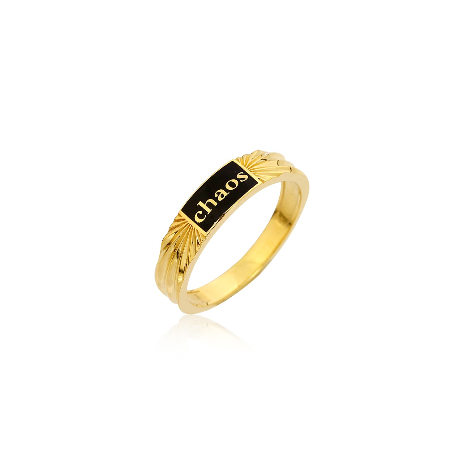 Black enamel ring with gold plated chaos writing on silver