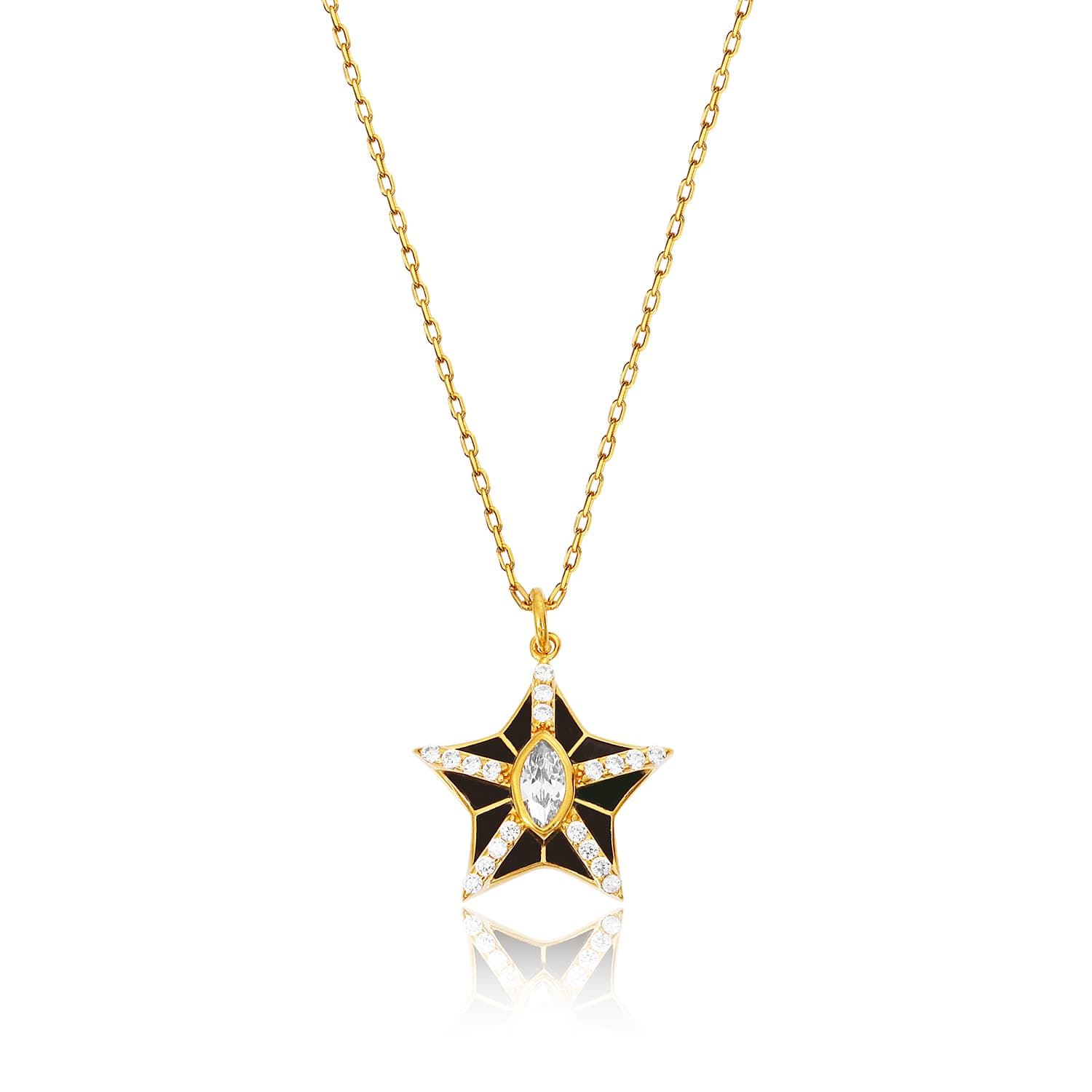 24k real gold plated enamel necklace on silver