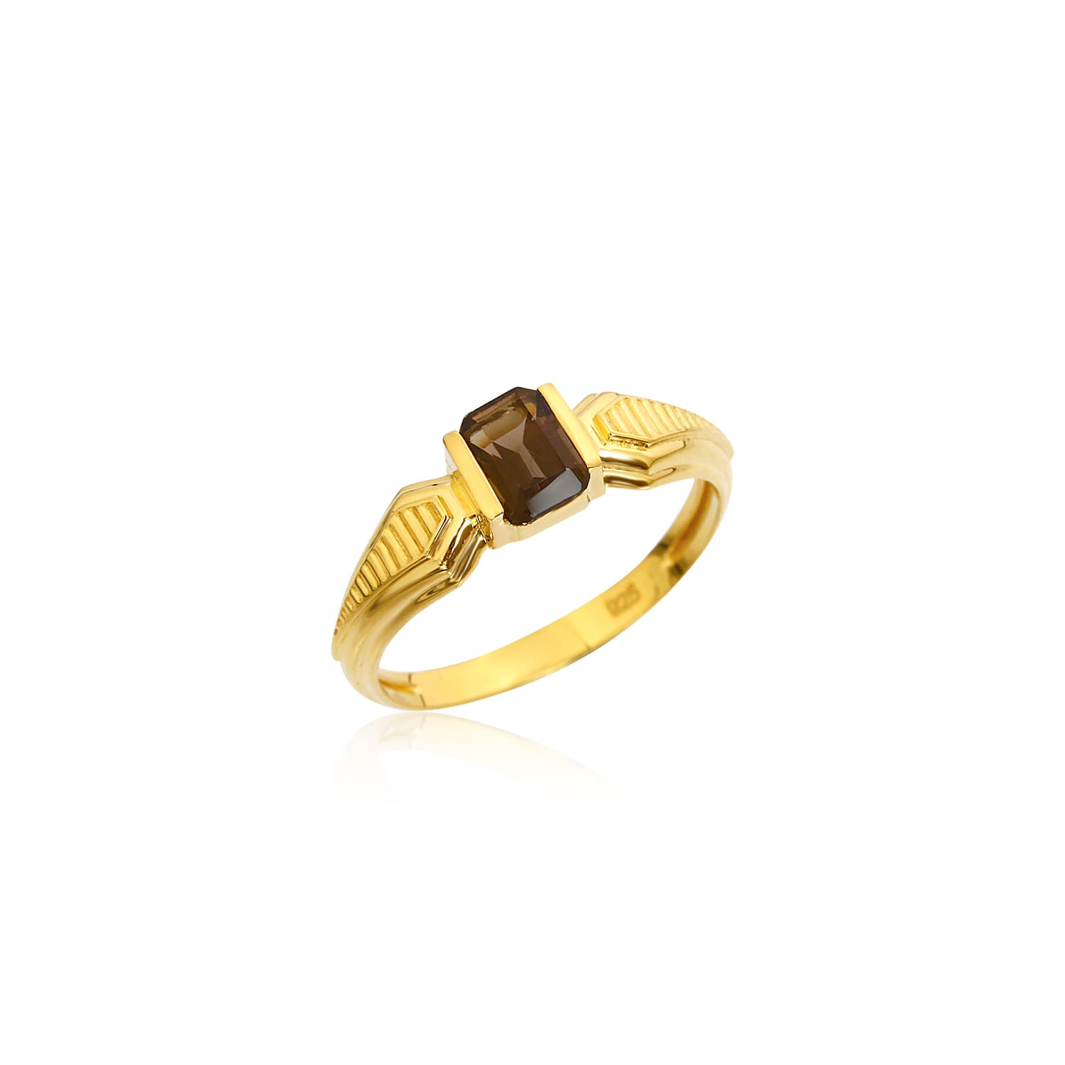 Gold plated smoky quartz ring models
