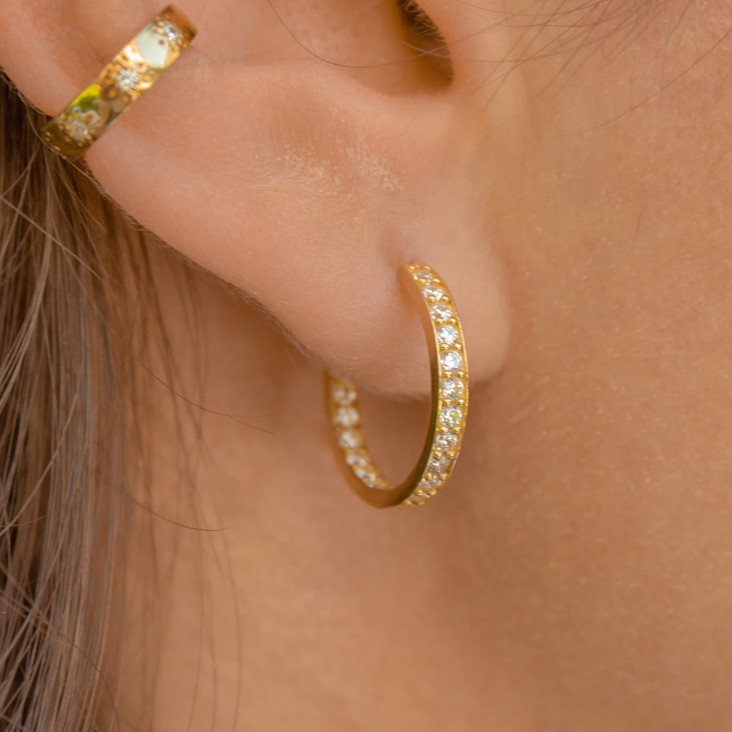 MAXI DOUBLE SIDED STONE RING EARRINGS